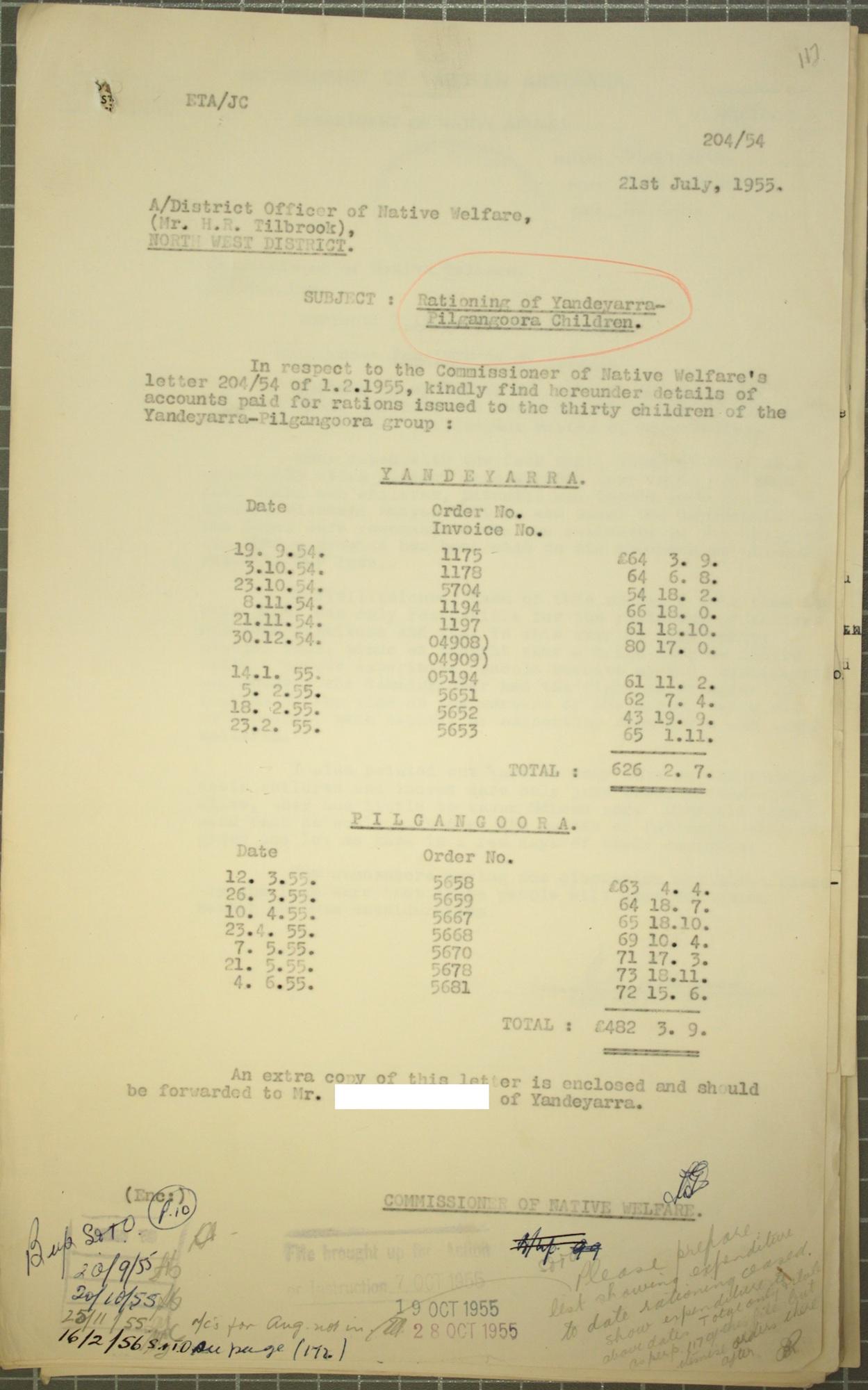Stan Middleton to Native Welfare Officer Harvey Tilbrook, 21 July 1955