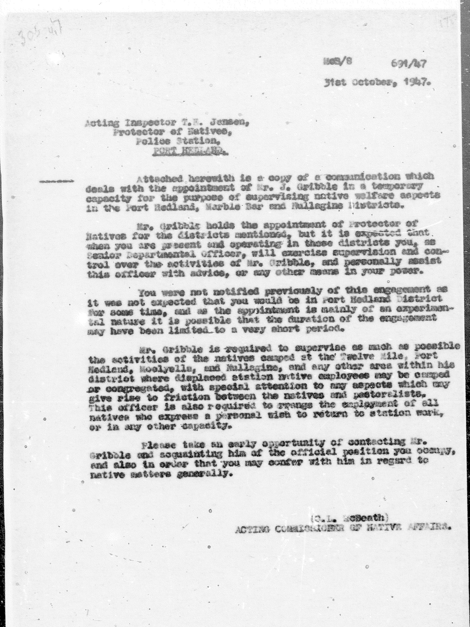 Acting Commissioner Lew McBeath to Acting Native Affairs Inspector Tom Jensen, 31 October 1947
