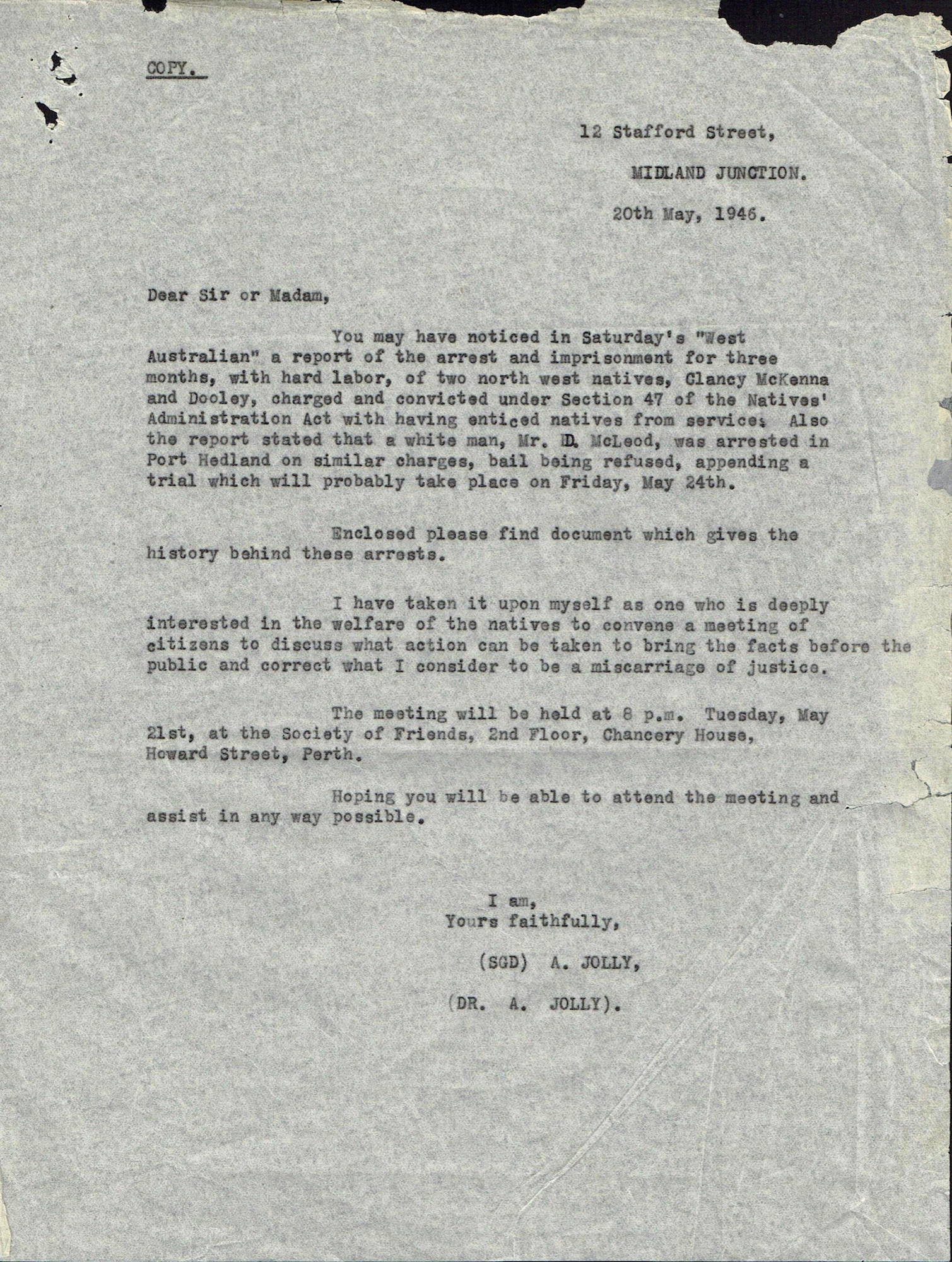 Alec Jolly, circular letter, 20 May 1946