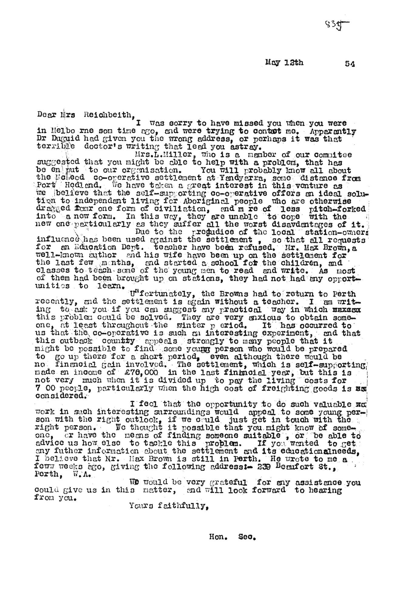 Shirley Andrews to Bessie Rischbieth, 12 May 1954