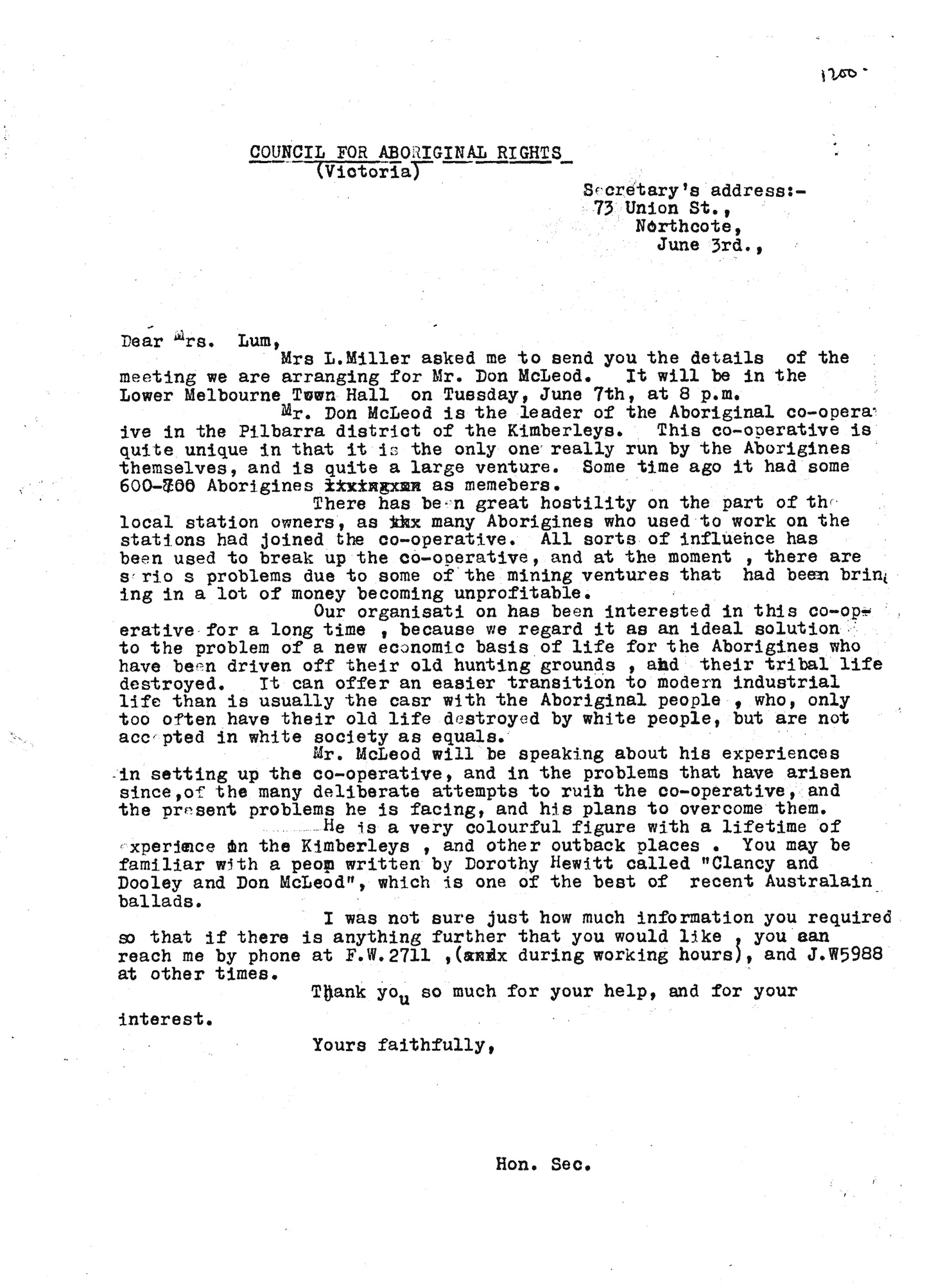 Shirley Andrews to Mrs. Lum, 3 June 1955