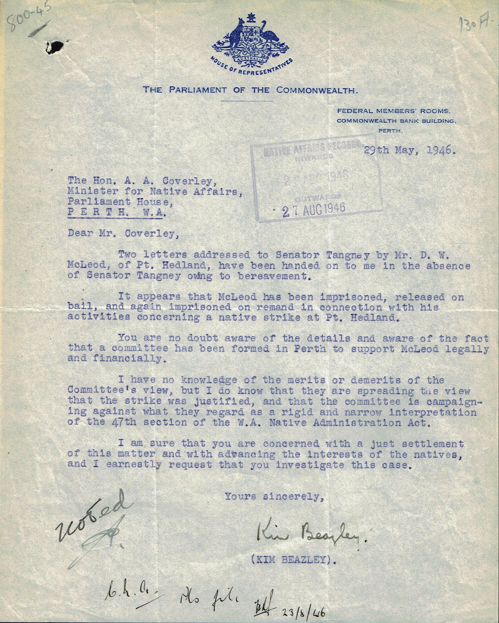 Federal Labor MP Beazley to Bob Coverley, 29 May 1946