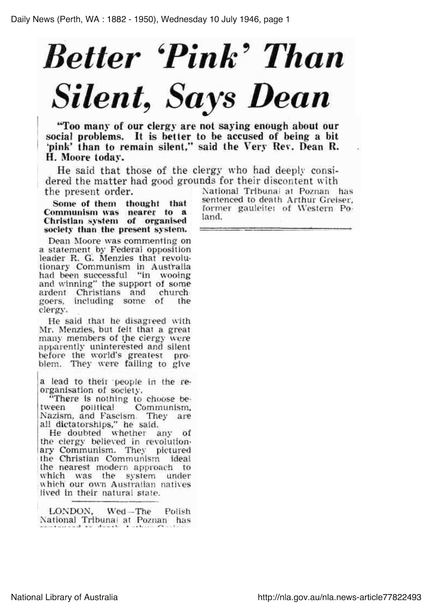 "Daily News, 10 July 1946, p. 1, 'Better ""Pink"" than Silent, Says Dean'"