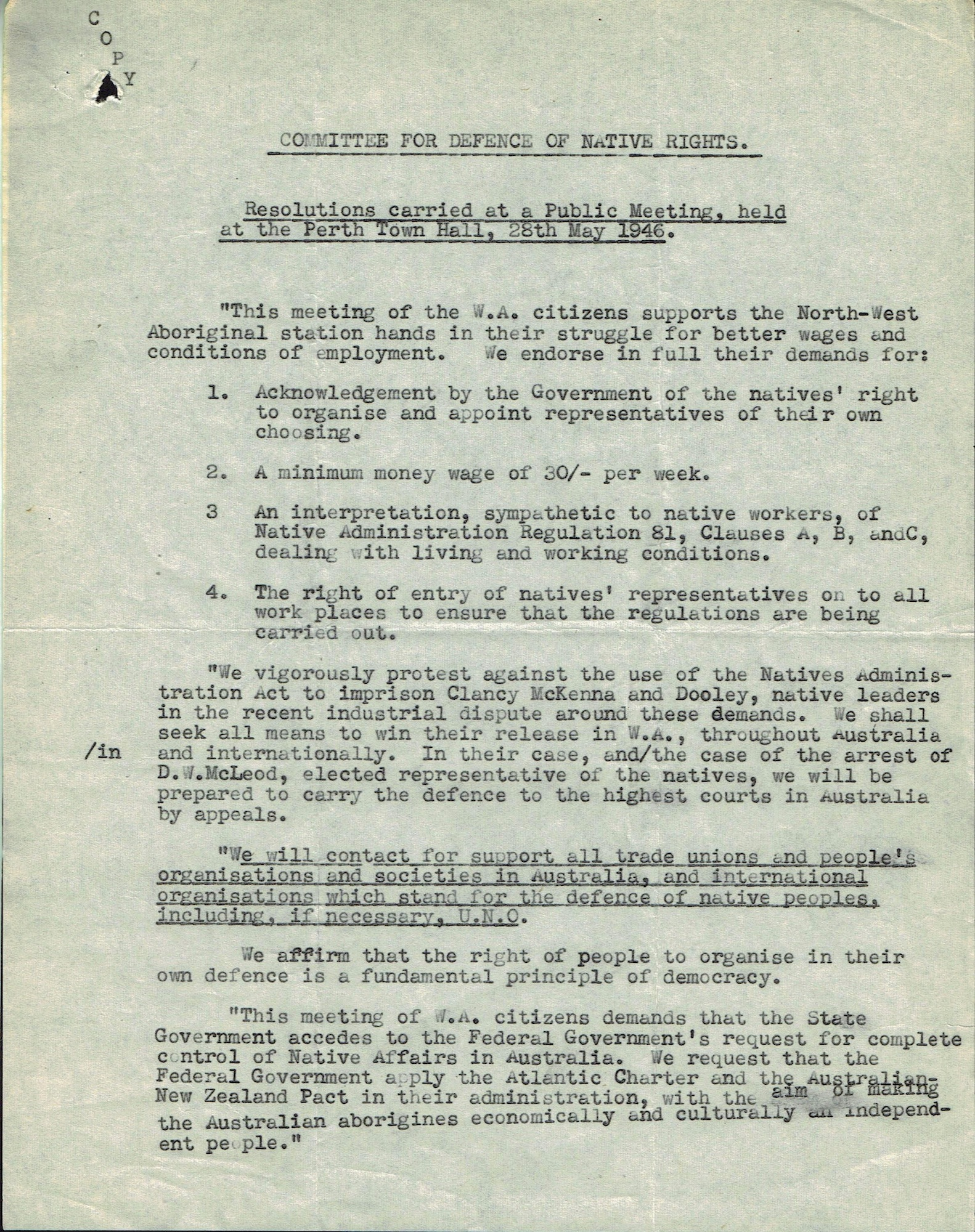Committee for Defence of Native Rights, 28 May 1946, Resolutions of a Meeting