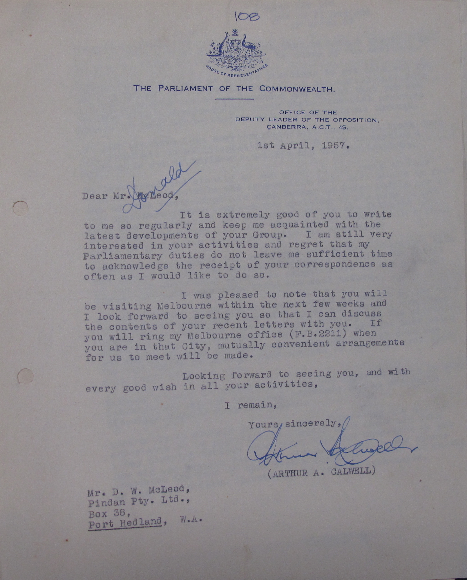 Arthur Calwell to Don McLeod, 1 April 1957