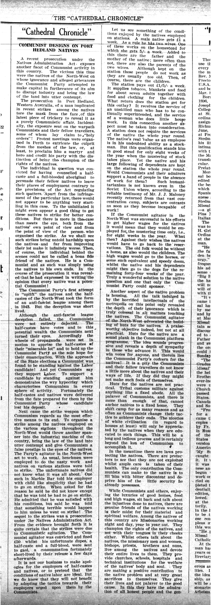 Cathedral Chronicle, August 1946, 'Communist Designs on Port Hedland Natives.'