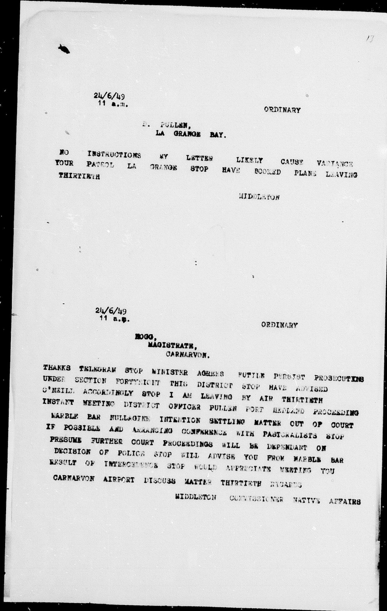 Stan Middleton to Magistrate Keith Hogg, 24 June 1949