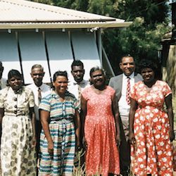 Pindan shareholders and their wives in 1960.   Jacob and Fanny Windjaga, Peter and Biddy Coppin, Biddy Coppin, Orange and Topsy Orange, Coombie and May Coombie, Massey and Lilly Massey, Ernie and Lucy Mitchell
