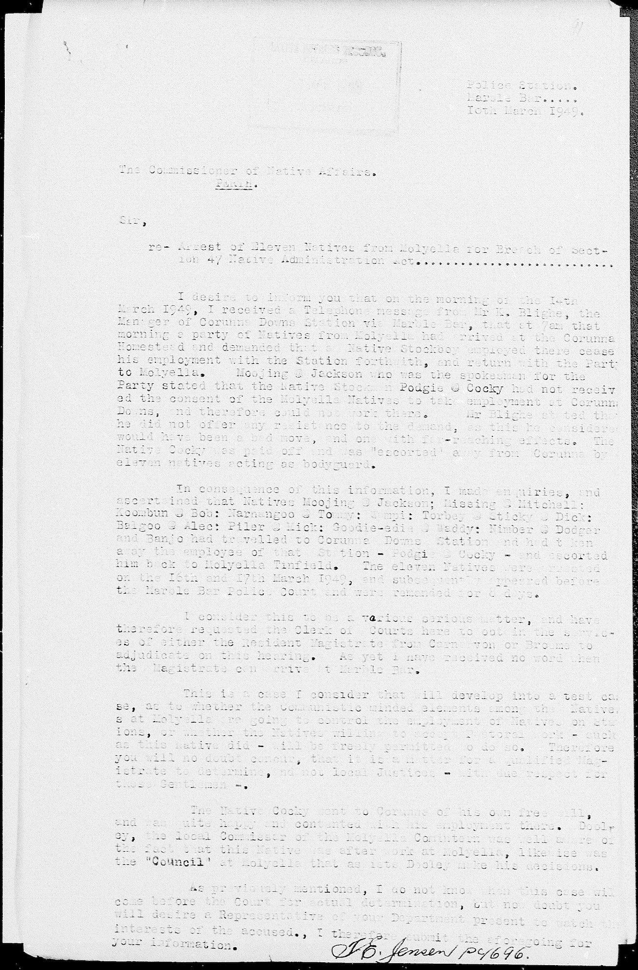Constable Tom Jensen to Commissioner Stan Middleton, 10 March 1949
