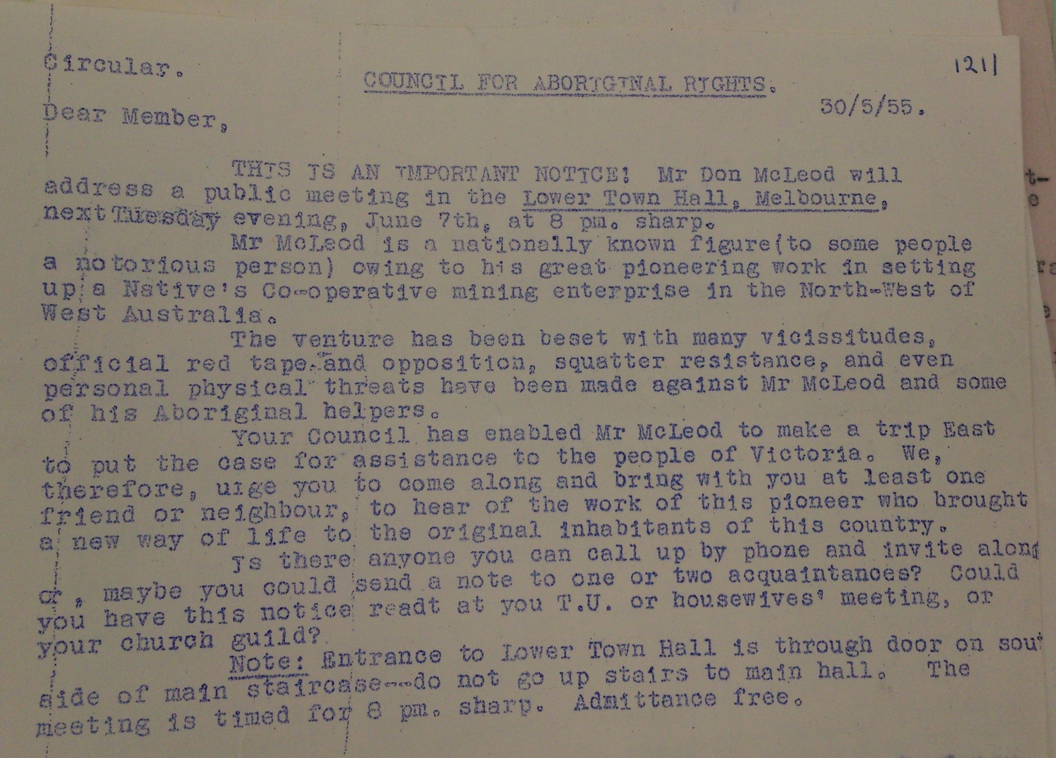 Circular for McLeod's Public Appearance on 1955 Tour