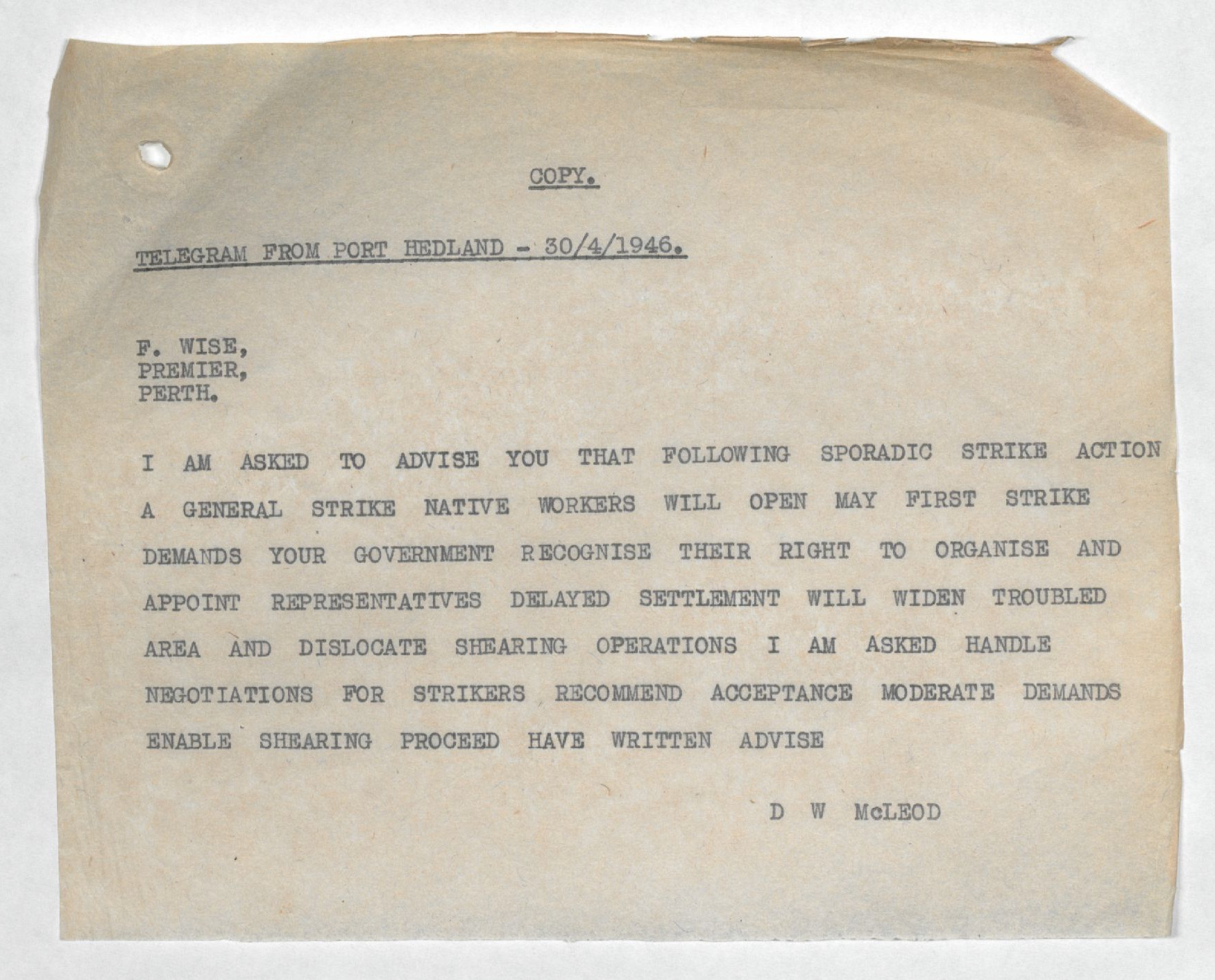 Don McLeod to Premier Frank Wise, telegram, 30 April 1946.