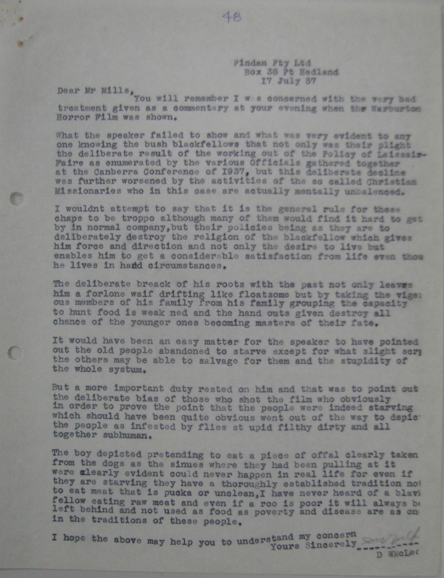 Don McLeod to John Mills [Millar], 17 July 1957