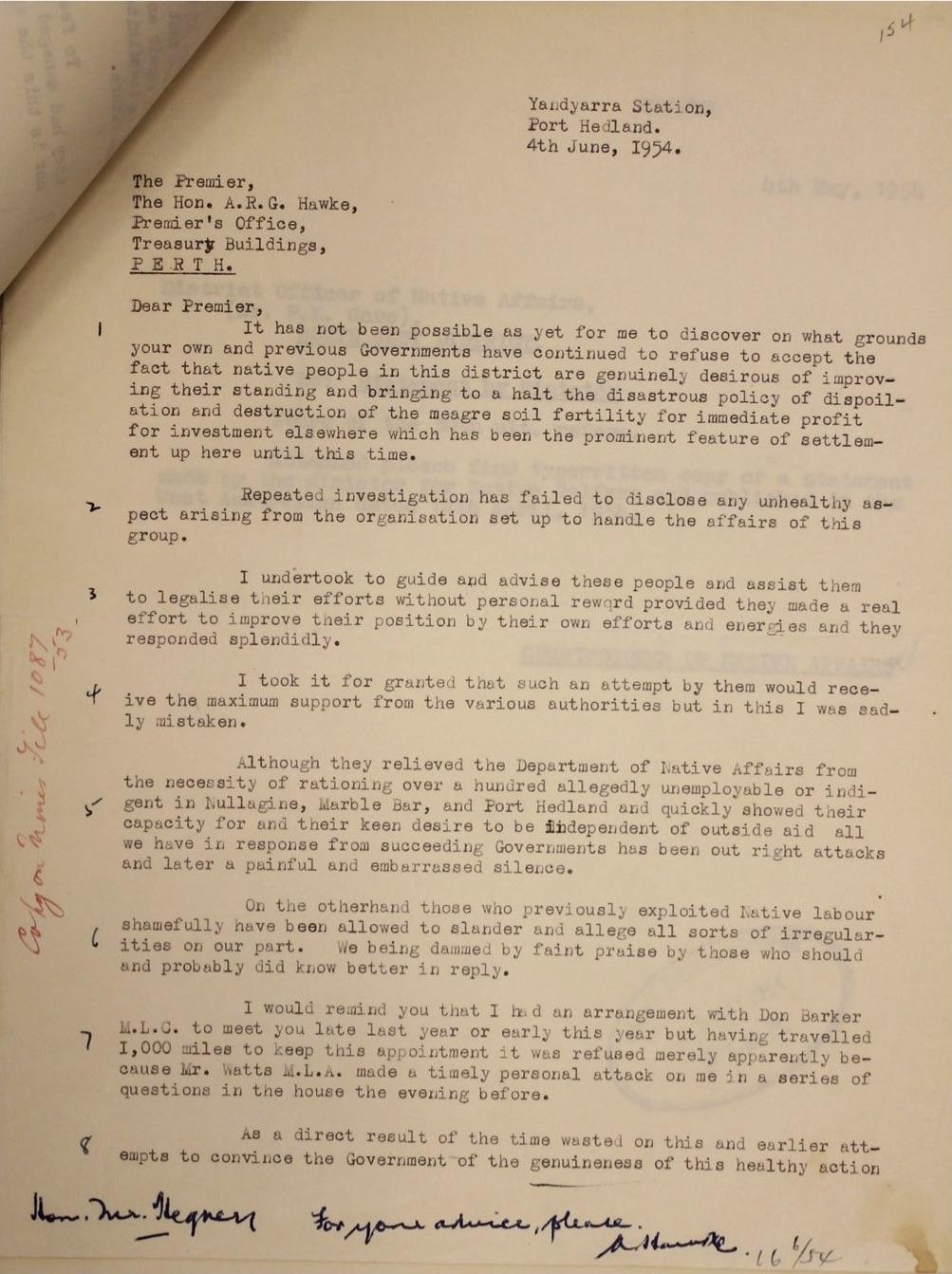 McLeod to Premier Hawke, 4 June 1954