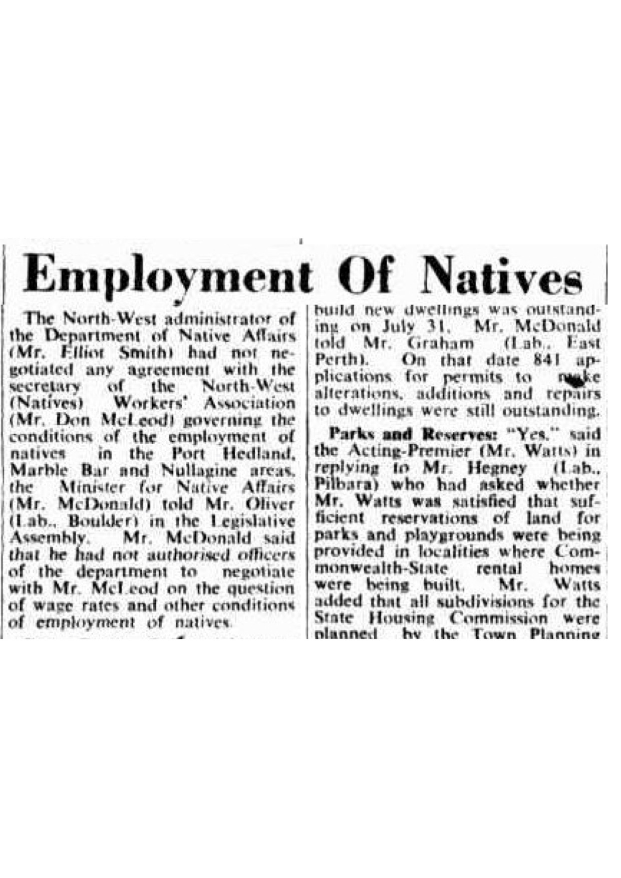 Employment of Natives newspaper article