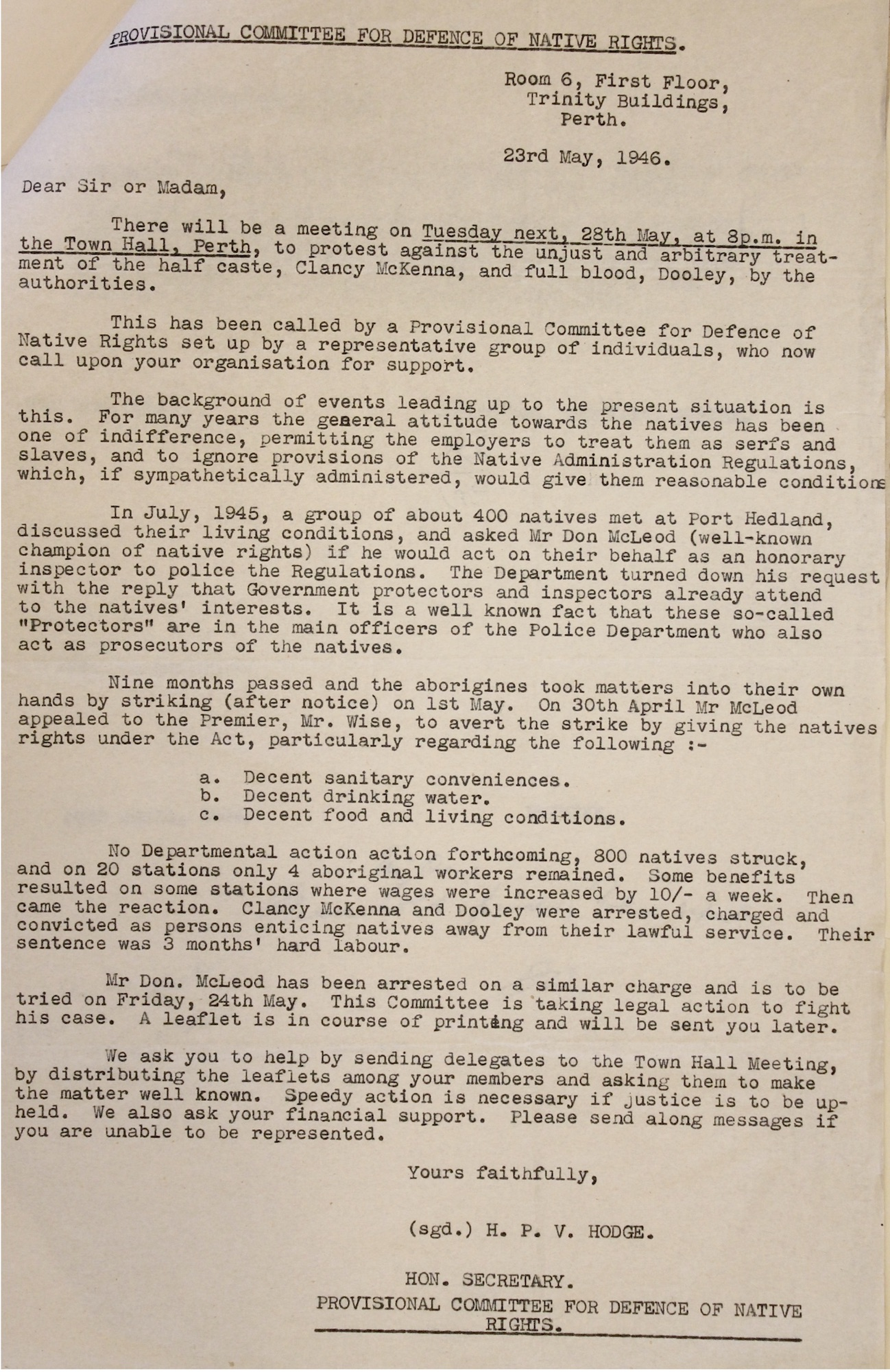 Committee for Defence of Native Rights Circular, 1946