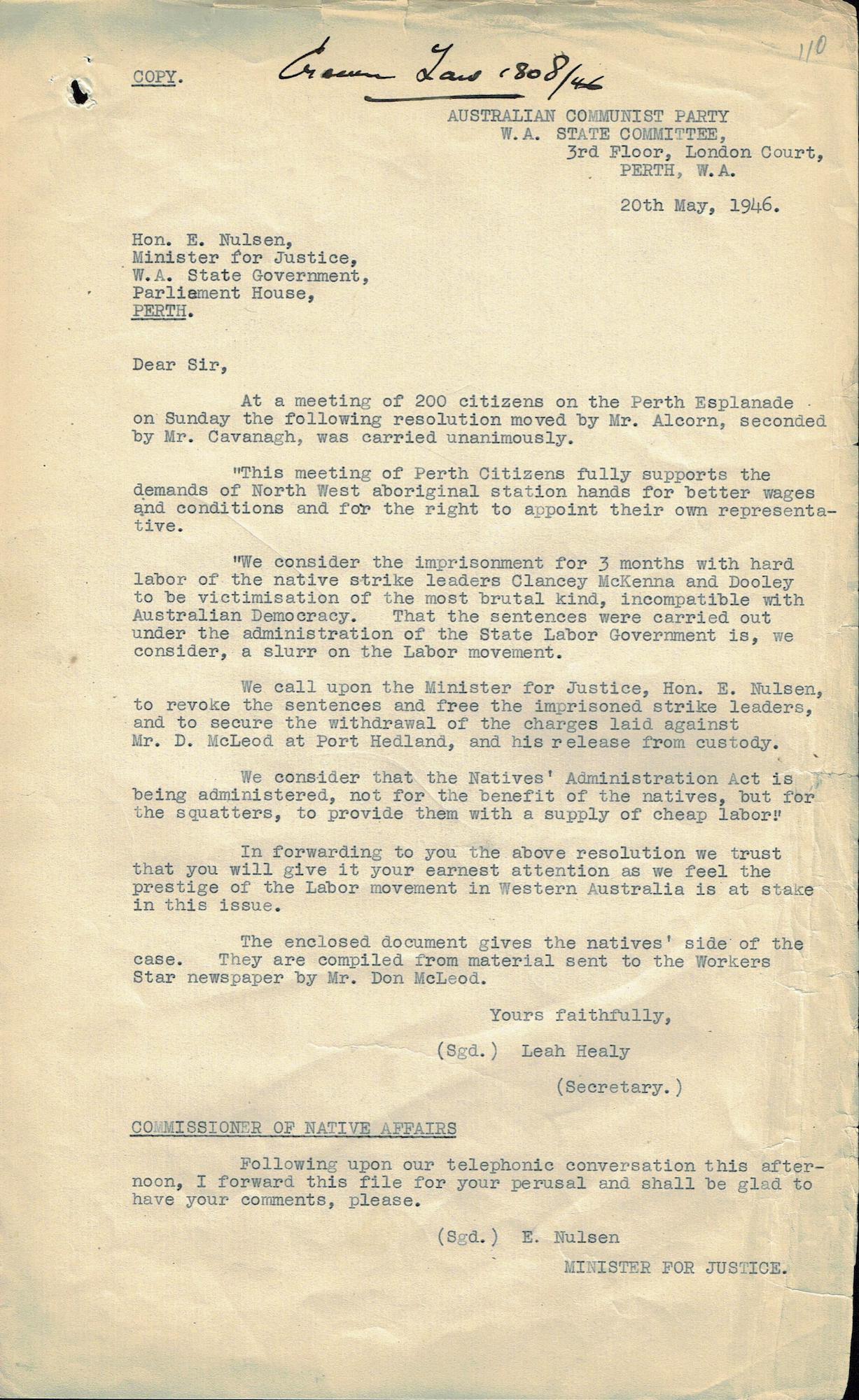 Leah Healy, Secretary, Western Australian State Committee, Australian Communist Party, to Minister for Justice Emil Nulsen, 20 May 1946
