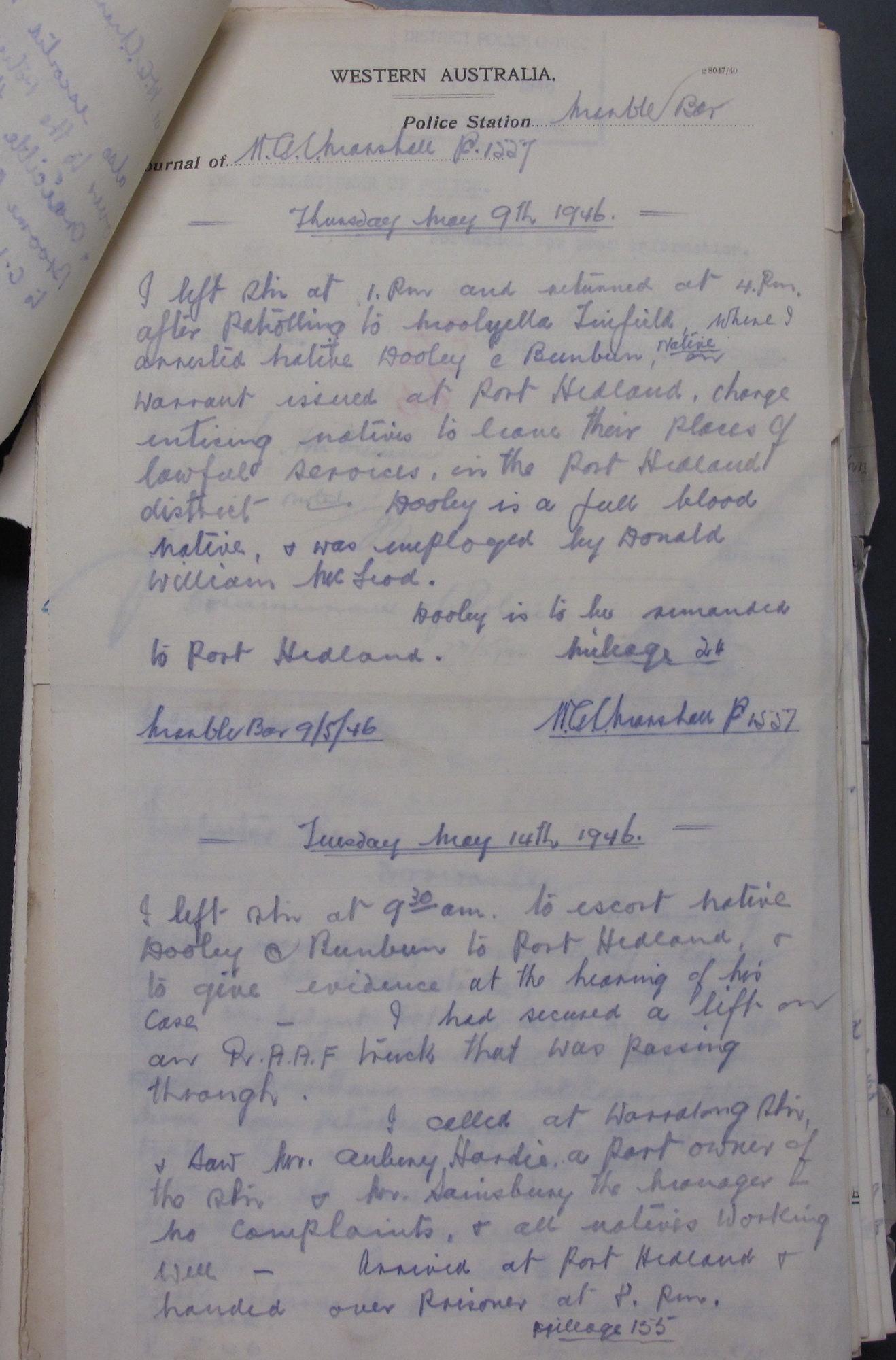 Gordon Marshall, police patrol journal, 9 May 1946.