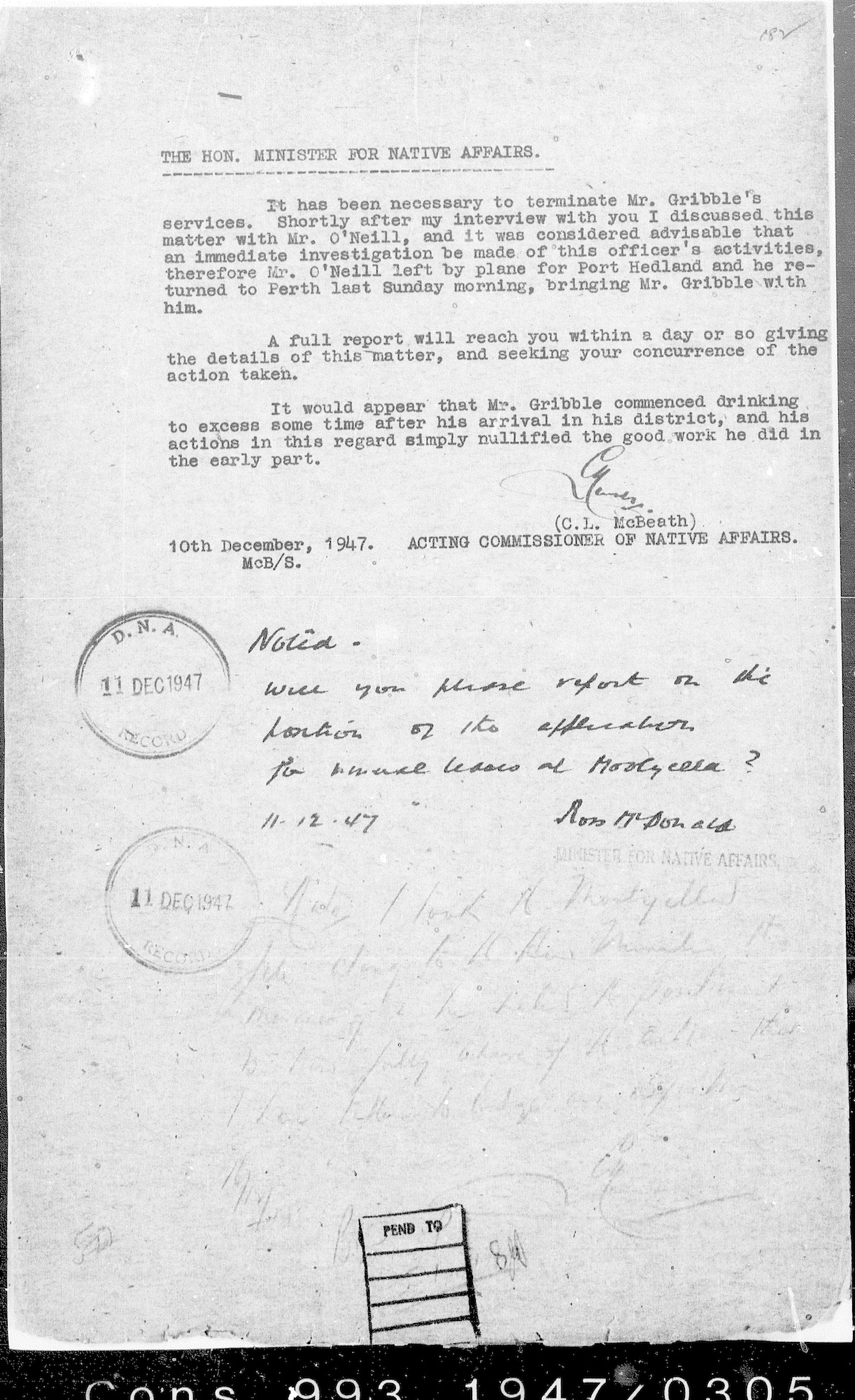 Acting Commissioner Lew McBeath to Minister for Native Affairs Ross McDonald, 10 December 1947