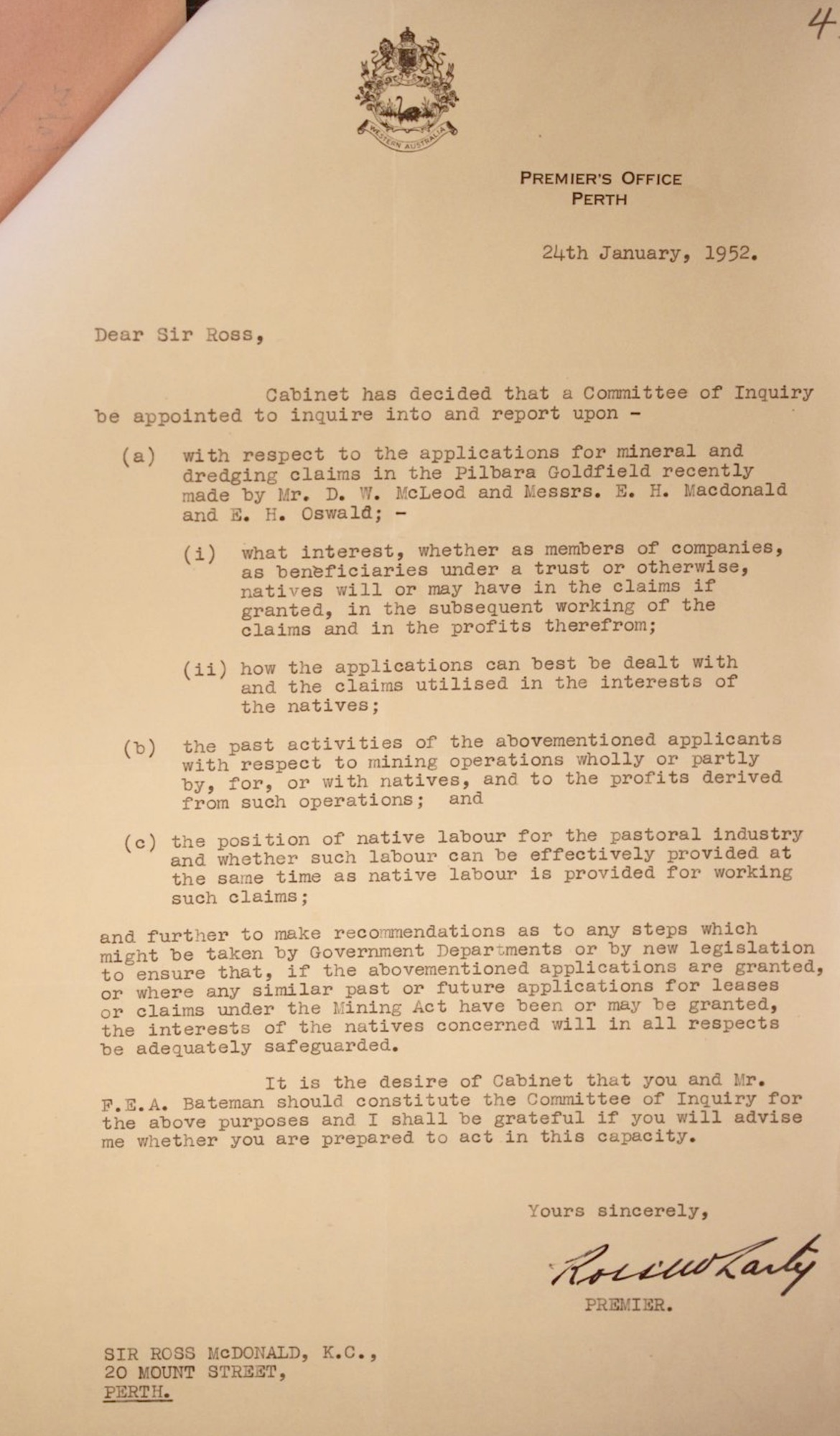 Premier Ross McLarty to Sir Ross McDonald, 24 January 1952