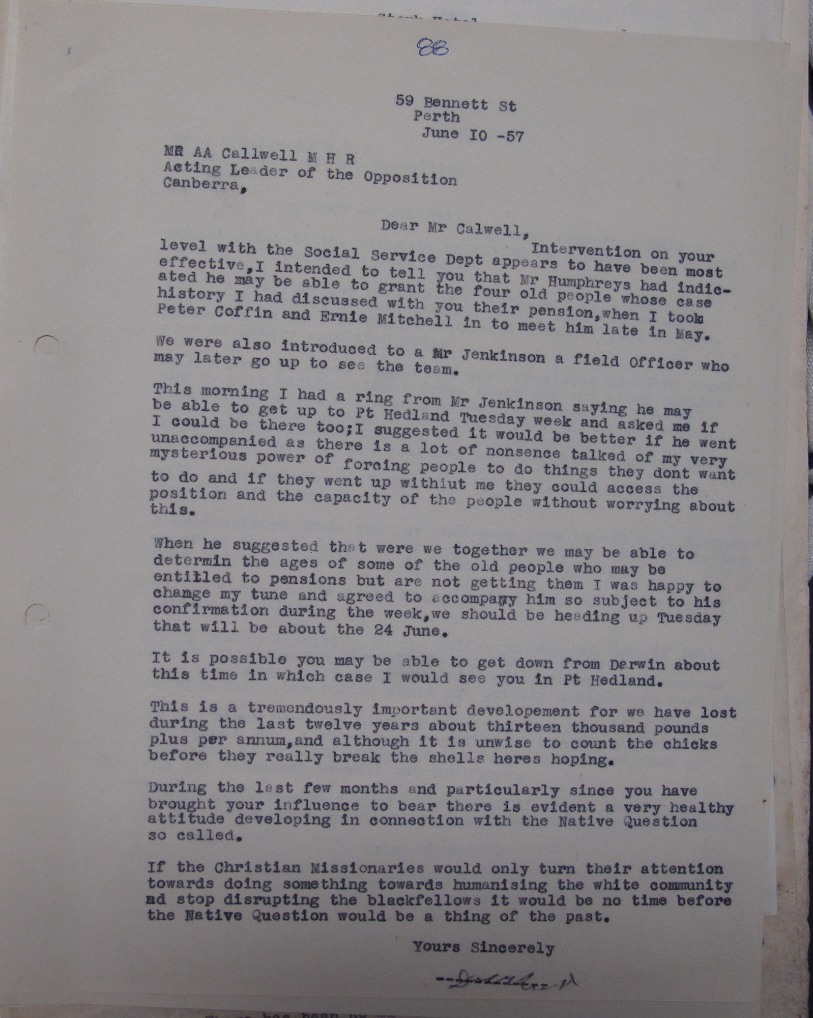 Don McLeod to Arthur Calwell, 10 June 1957
