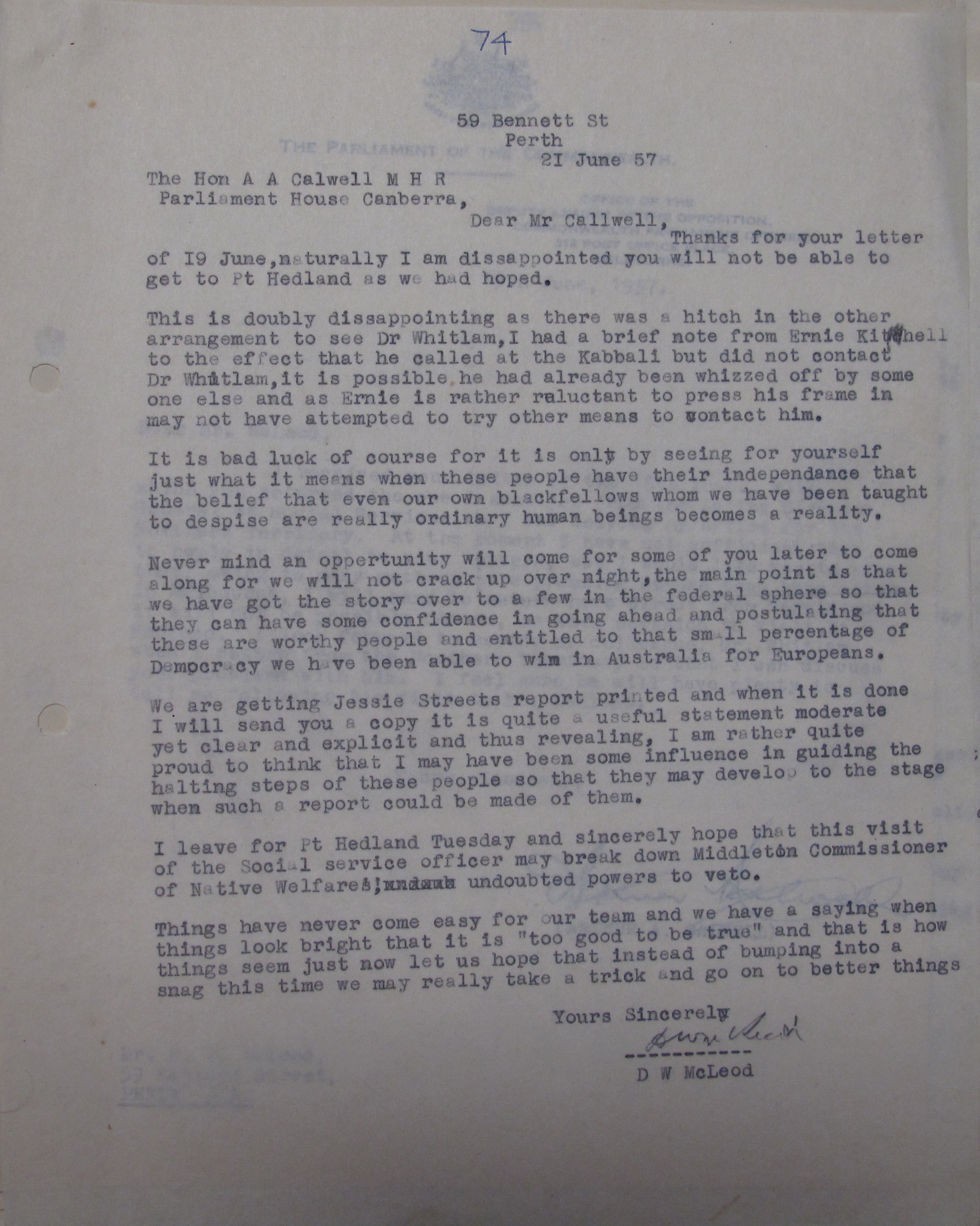 Don McLeod to Arthur Calwell, 21 June 1957