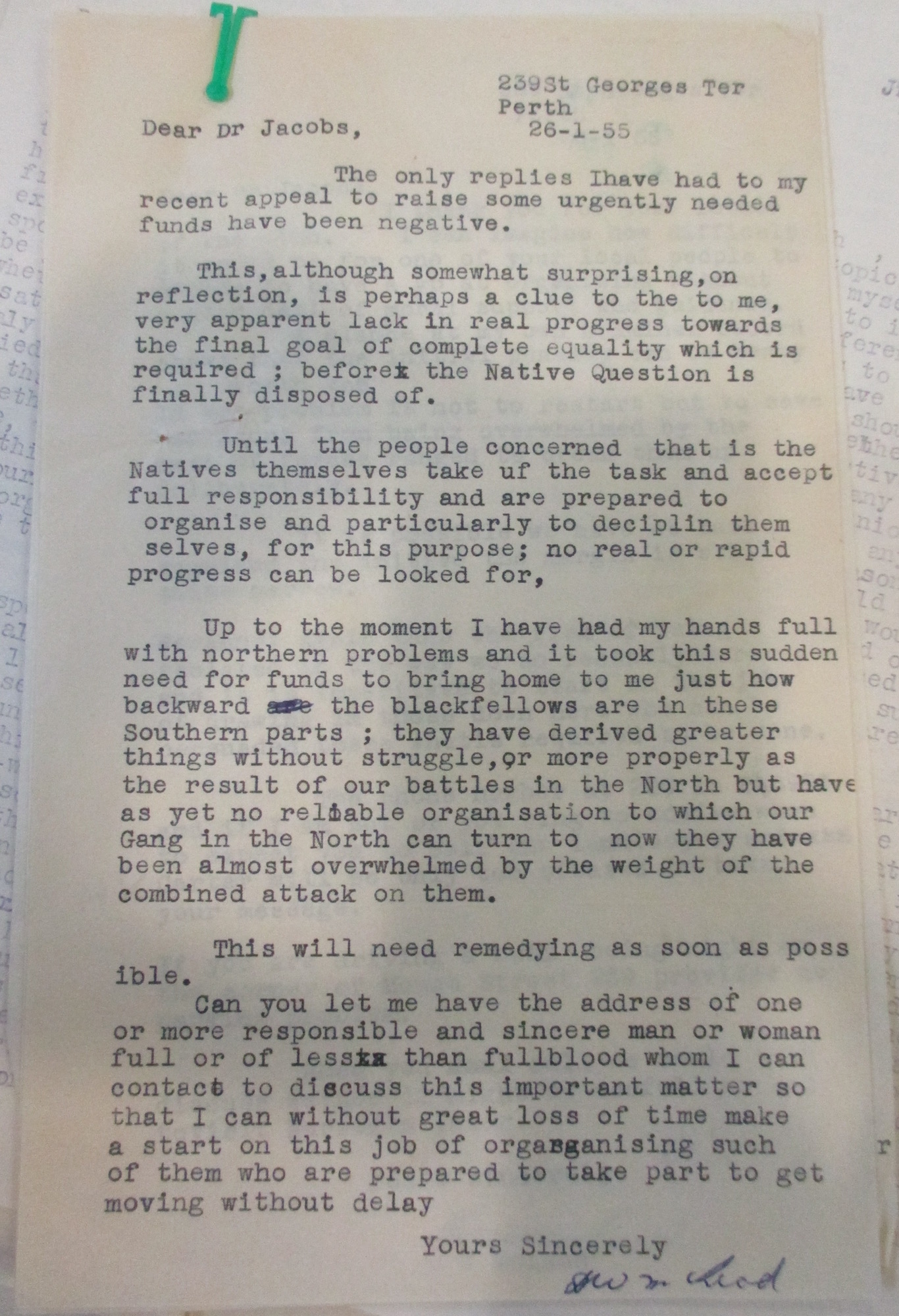 Don McLeod to Alfred Jacobs, 26 January 1955