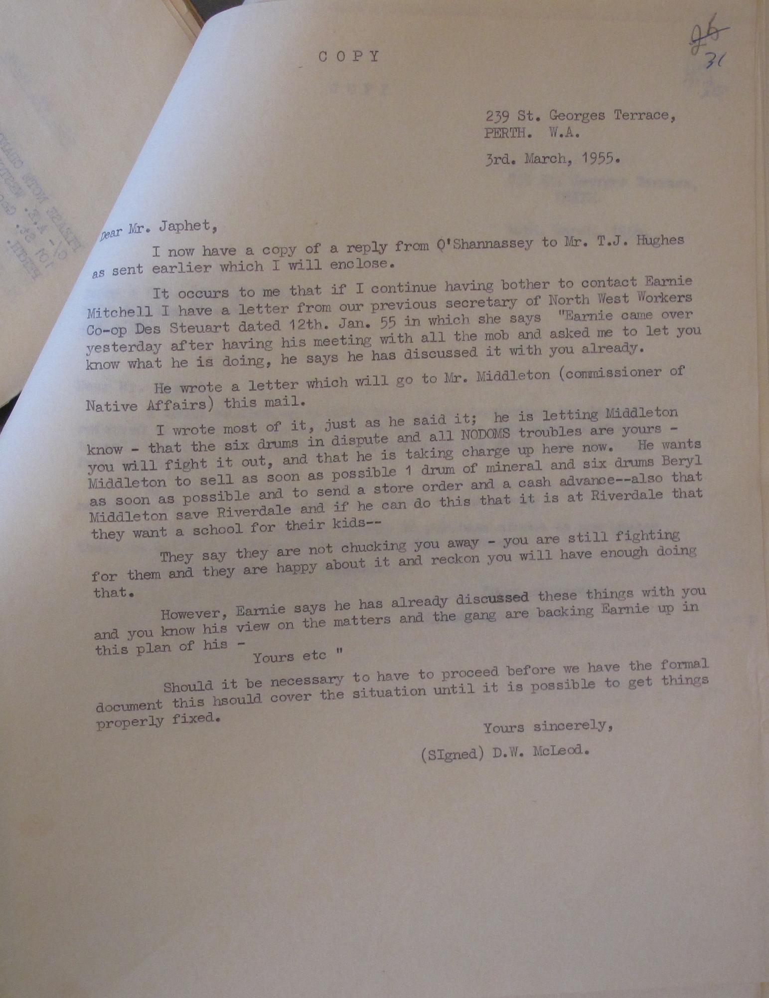 Don McLeod to Japhet, 3 March 1955