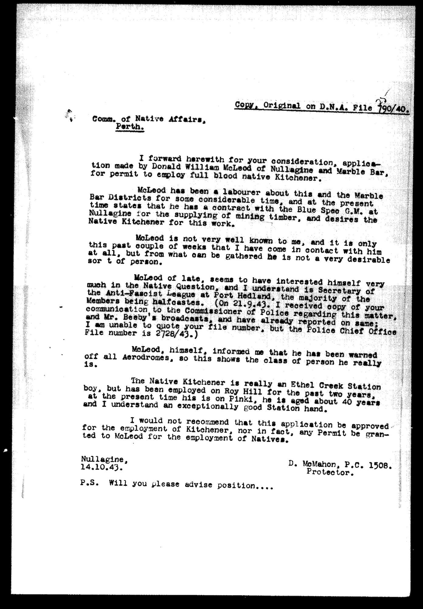 McMahon to Bray, 14 October 1943