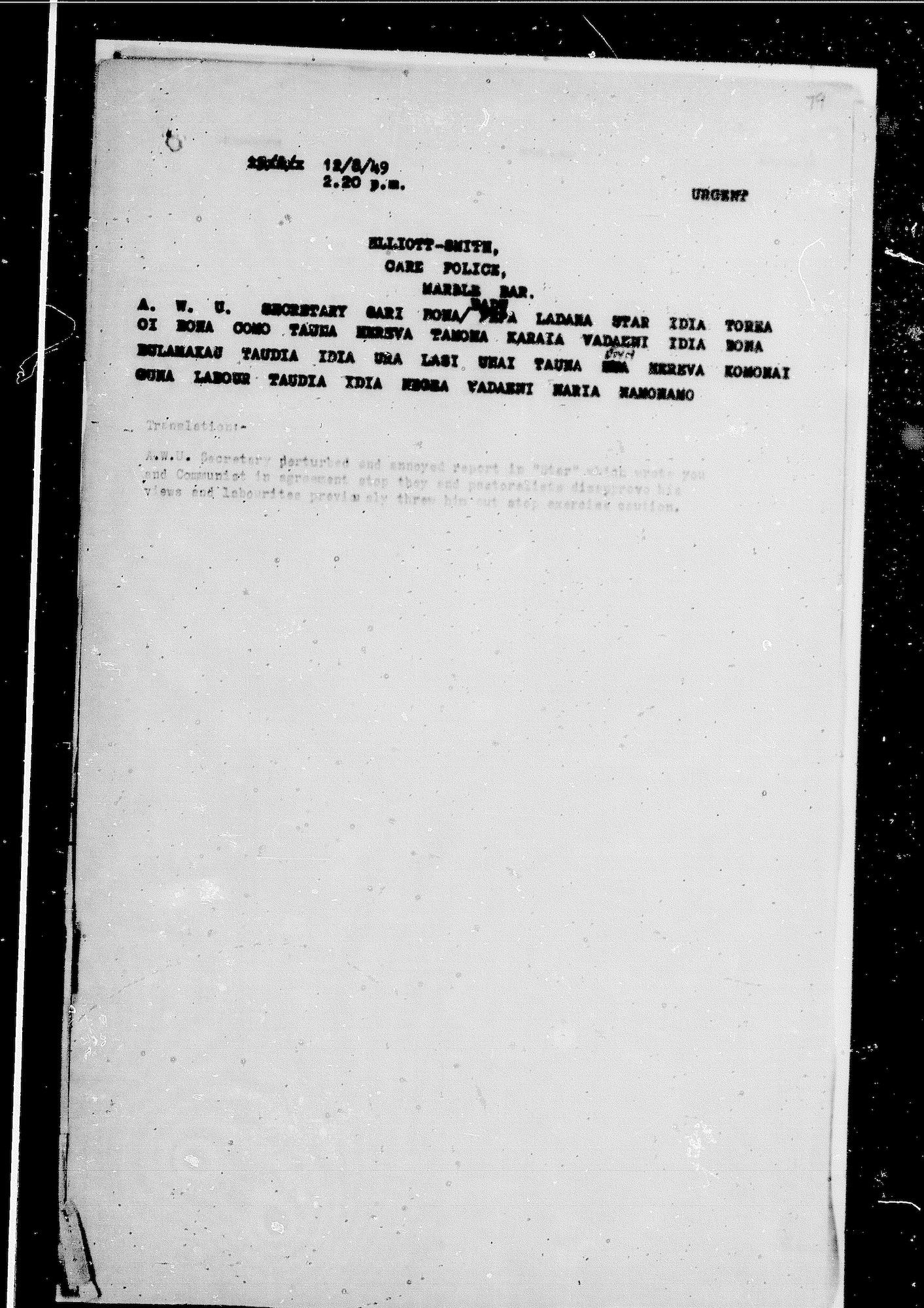 Middleton to Elliott-Smith, 12 August 1949