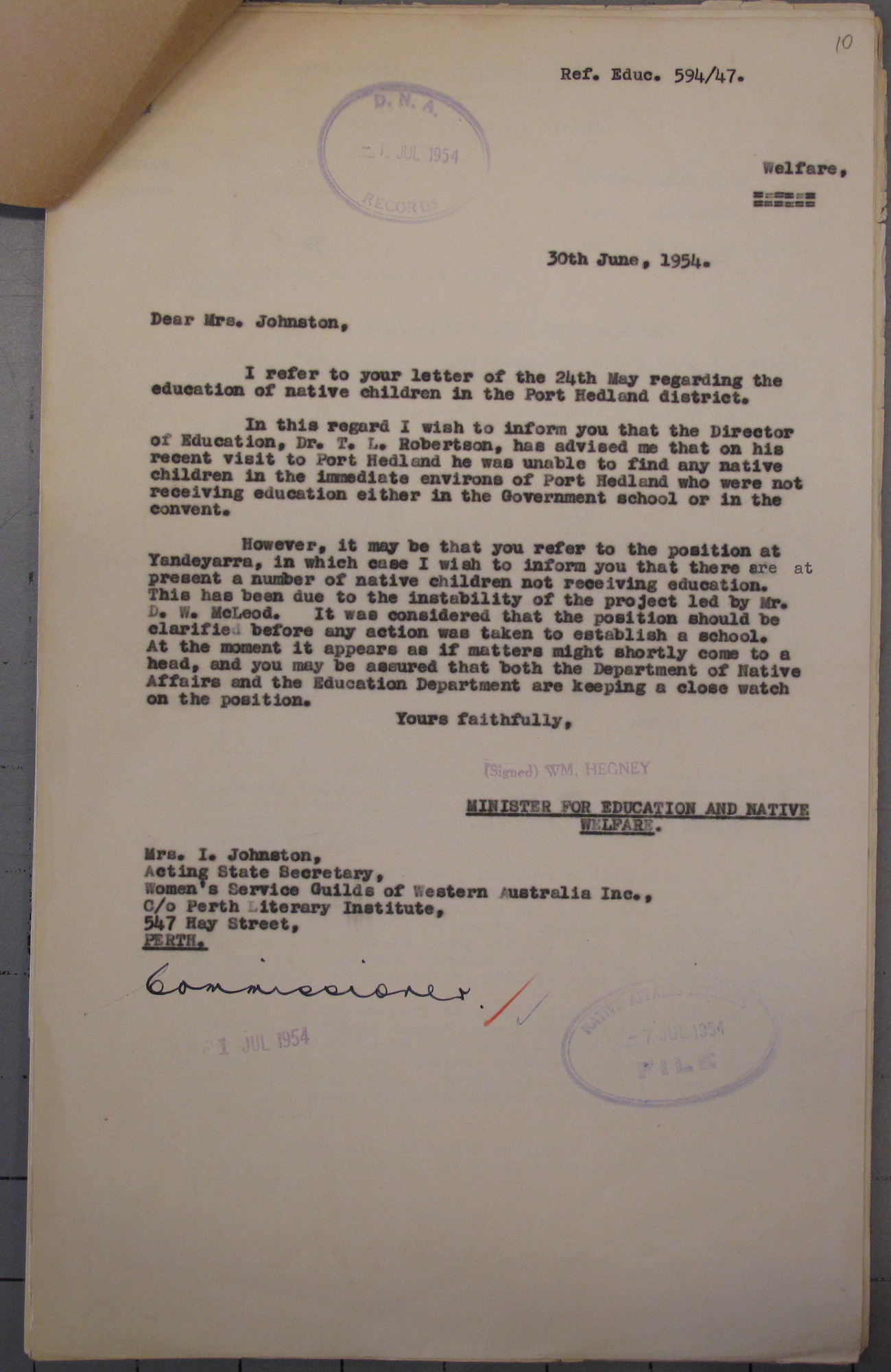 Stan Middleton to Director of Education Blue Robertson, 19 March 1952