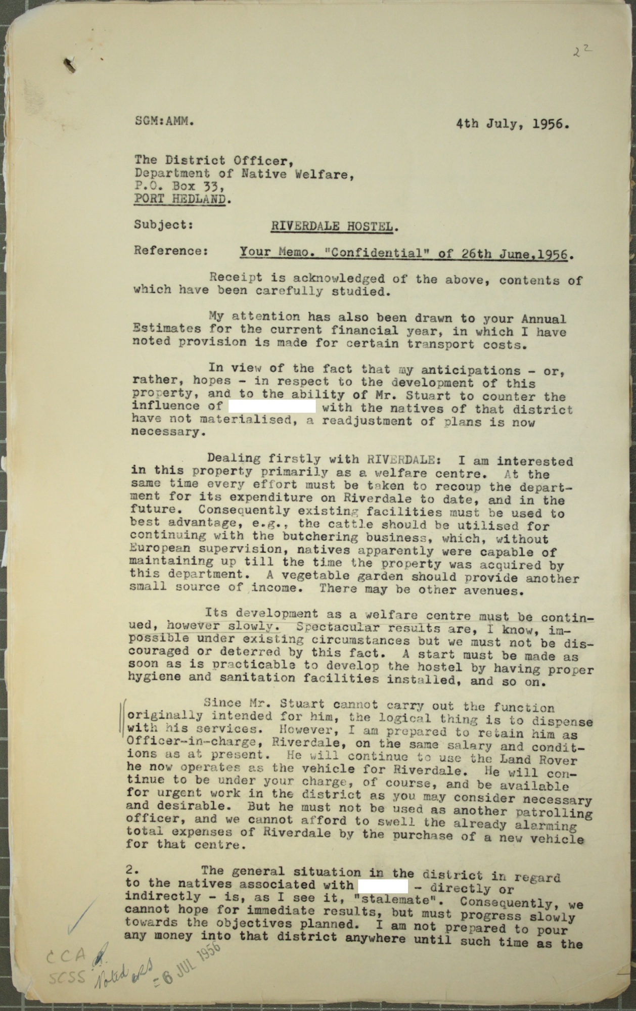 Stan Middleton to Minister of Native Welfare Victor Doney, November 1955