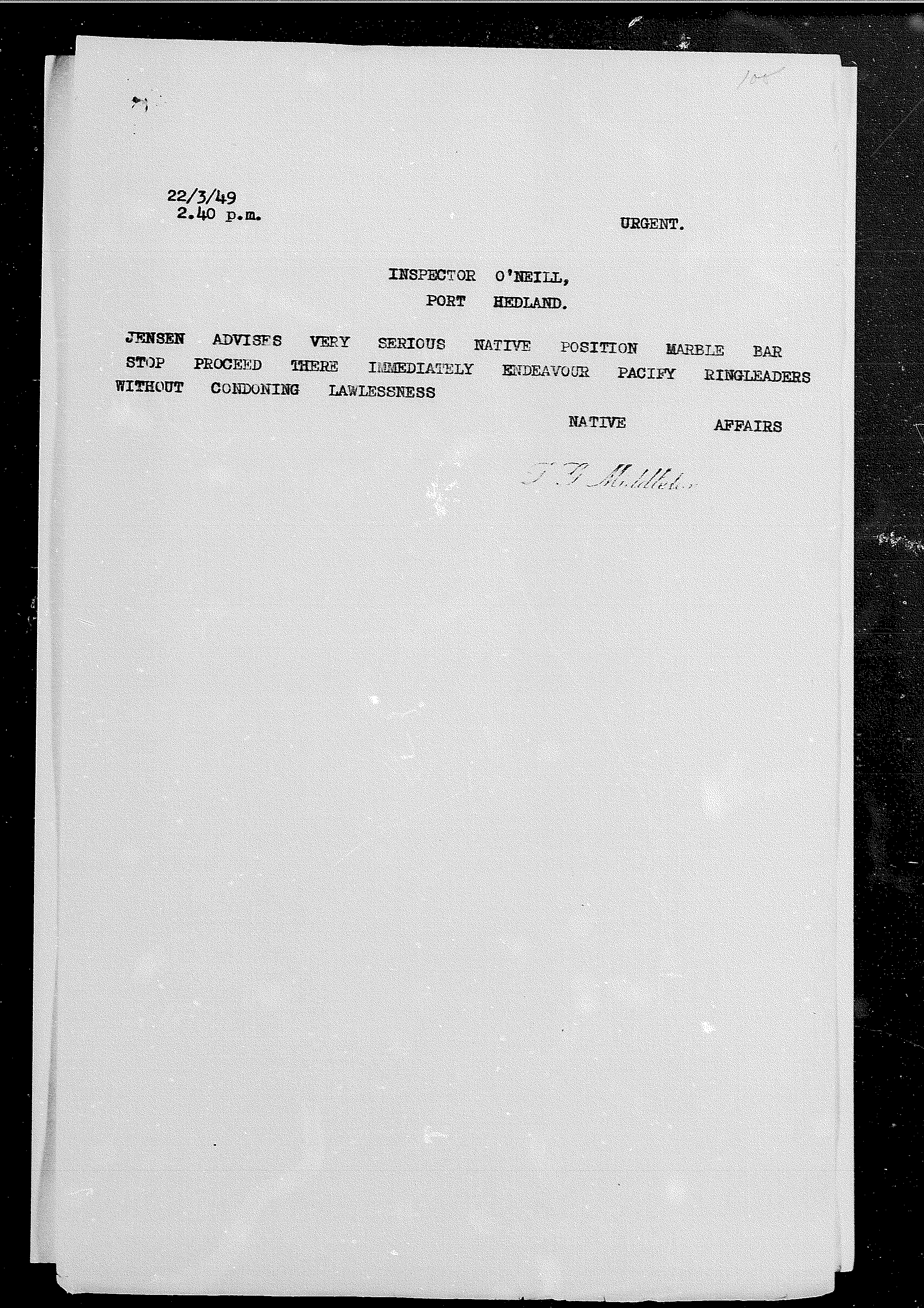 Middleton to O'Neill, 22 March 1949