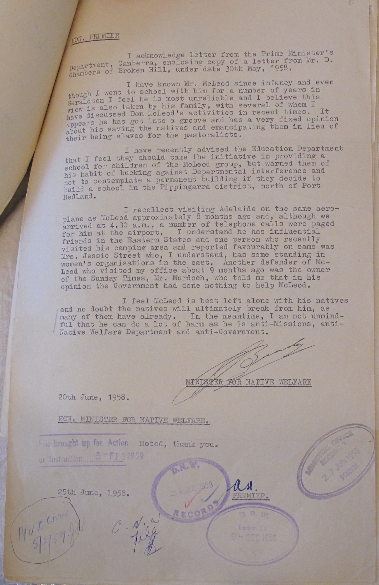 Minister for Native Welfare Brady to Premier Hawke, 20 June 1958