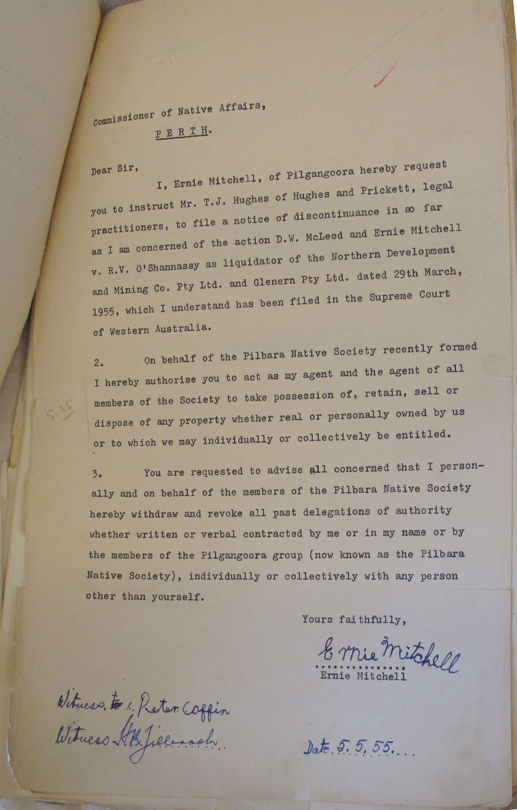 Mitchell to Middleton, 5 May 1955