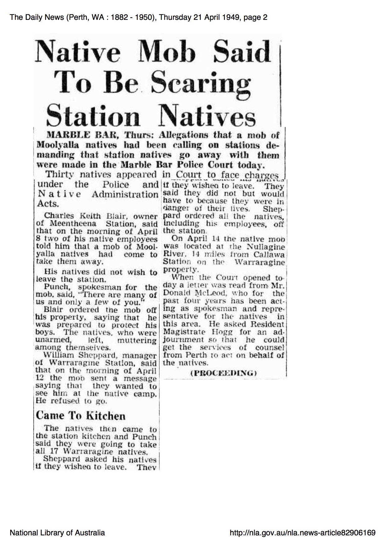 Native Mob Said to be Scaring Station Natives newspaper article