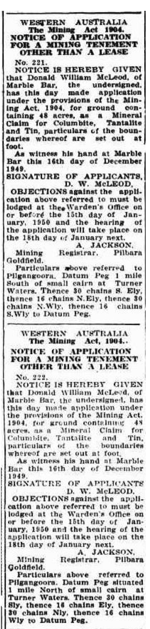 Northern Times, 29 December 1949