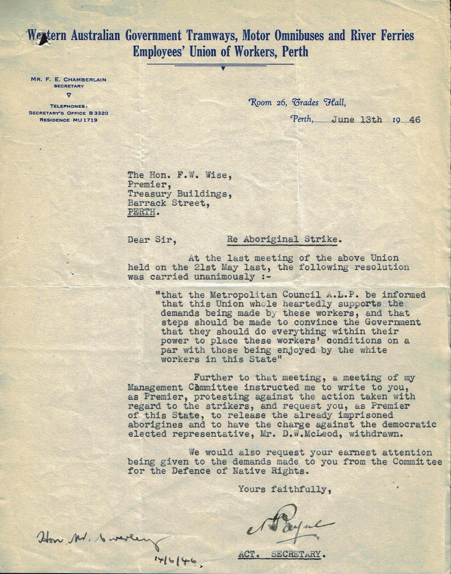 N. Payne to Premier Wise, 13 June 1946