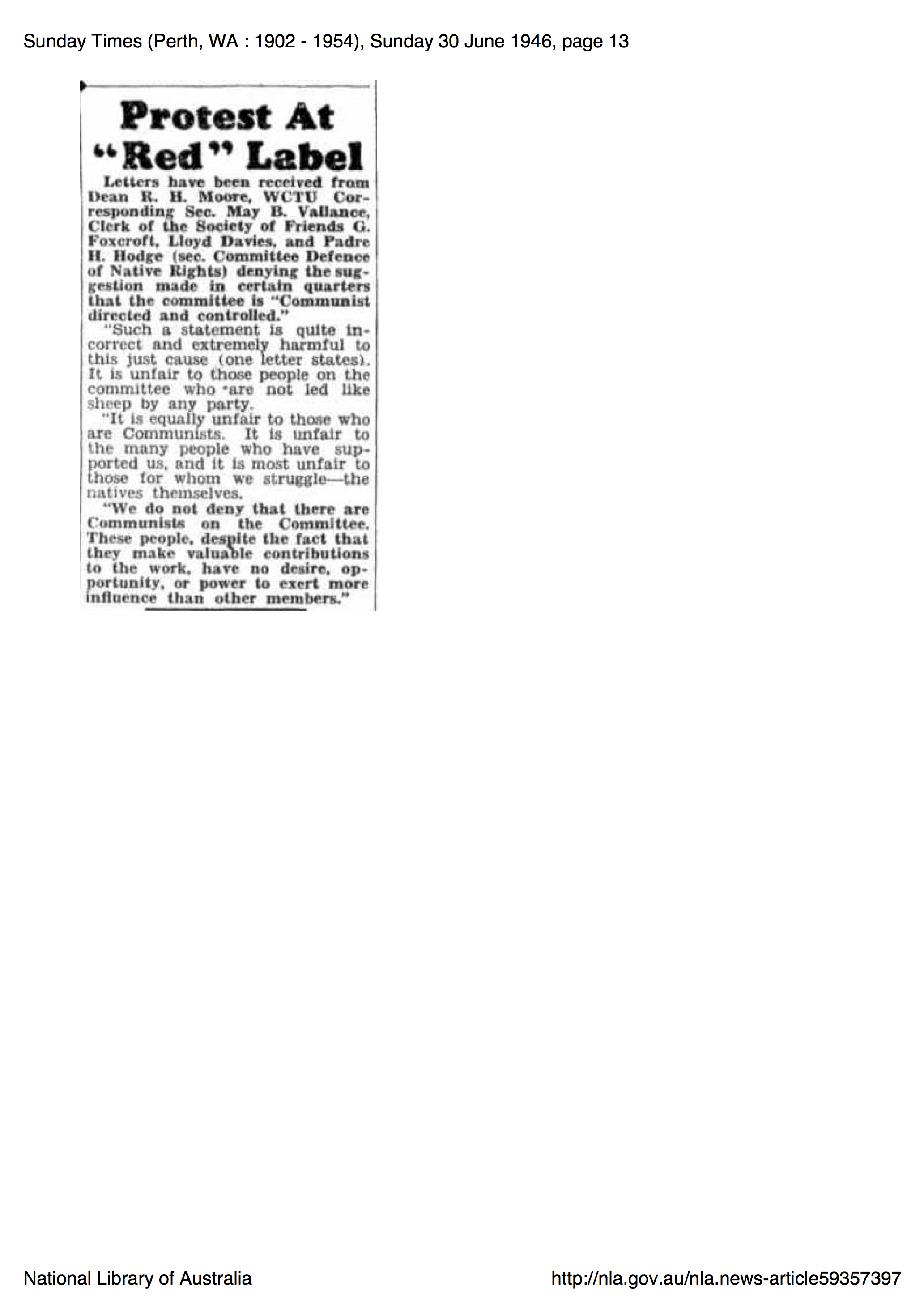 "Sunday Times, 13 June 1946, p. 13, 'Protest at ""Red"" Label'"
