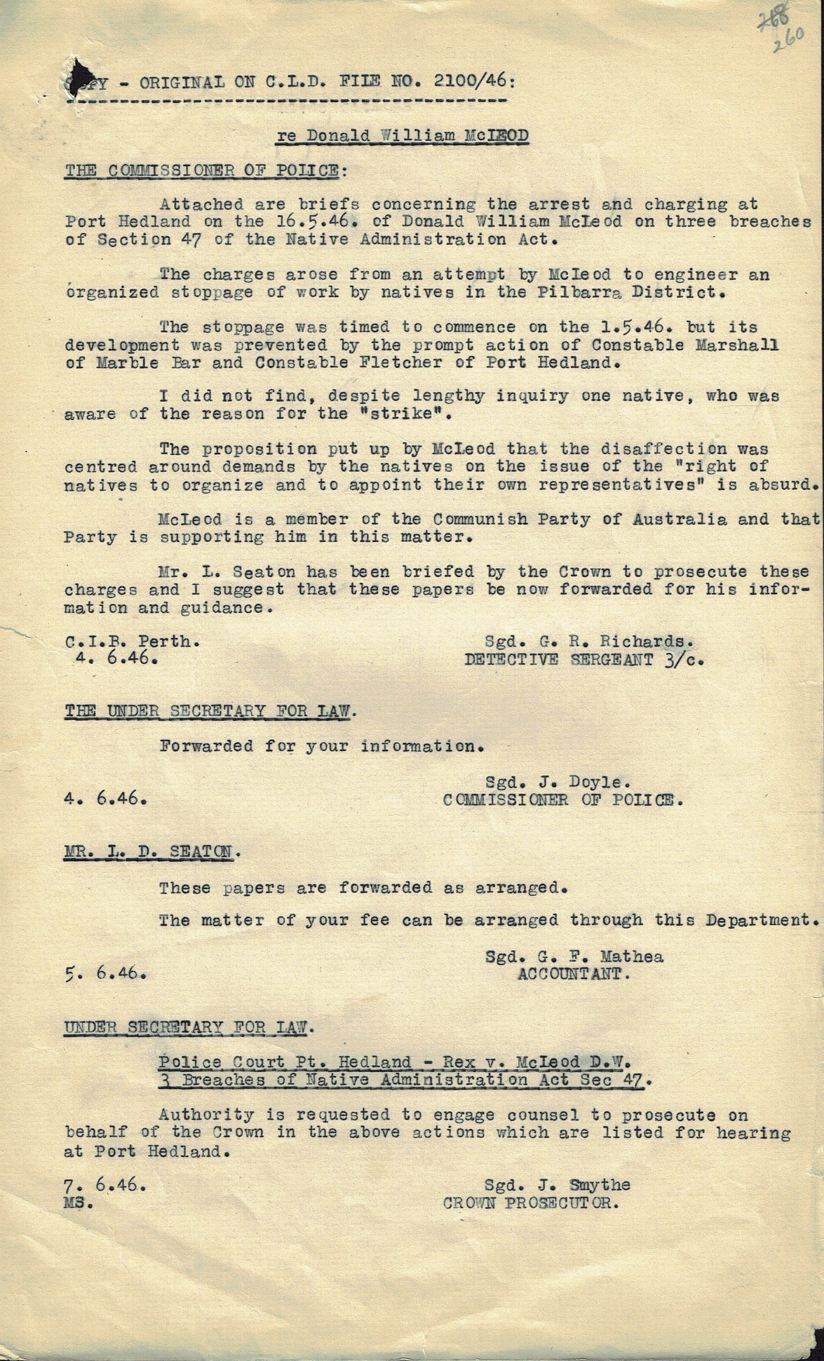 Richards to Commissioner of Police, 4 June 1946