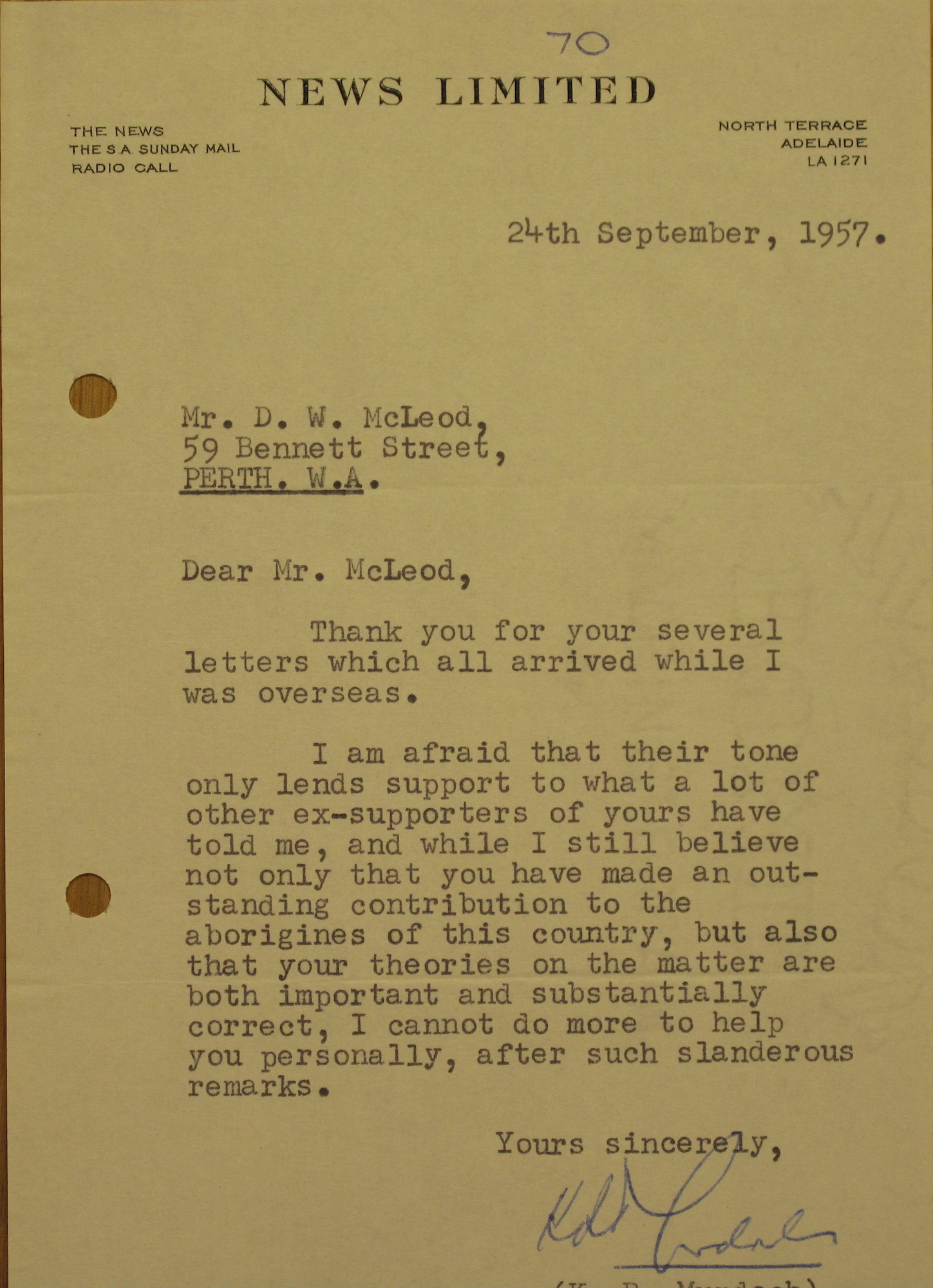 Rupert Murdoch to Don McLeod, 24 September 1957
