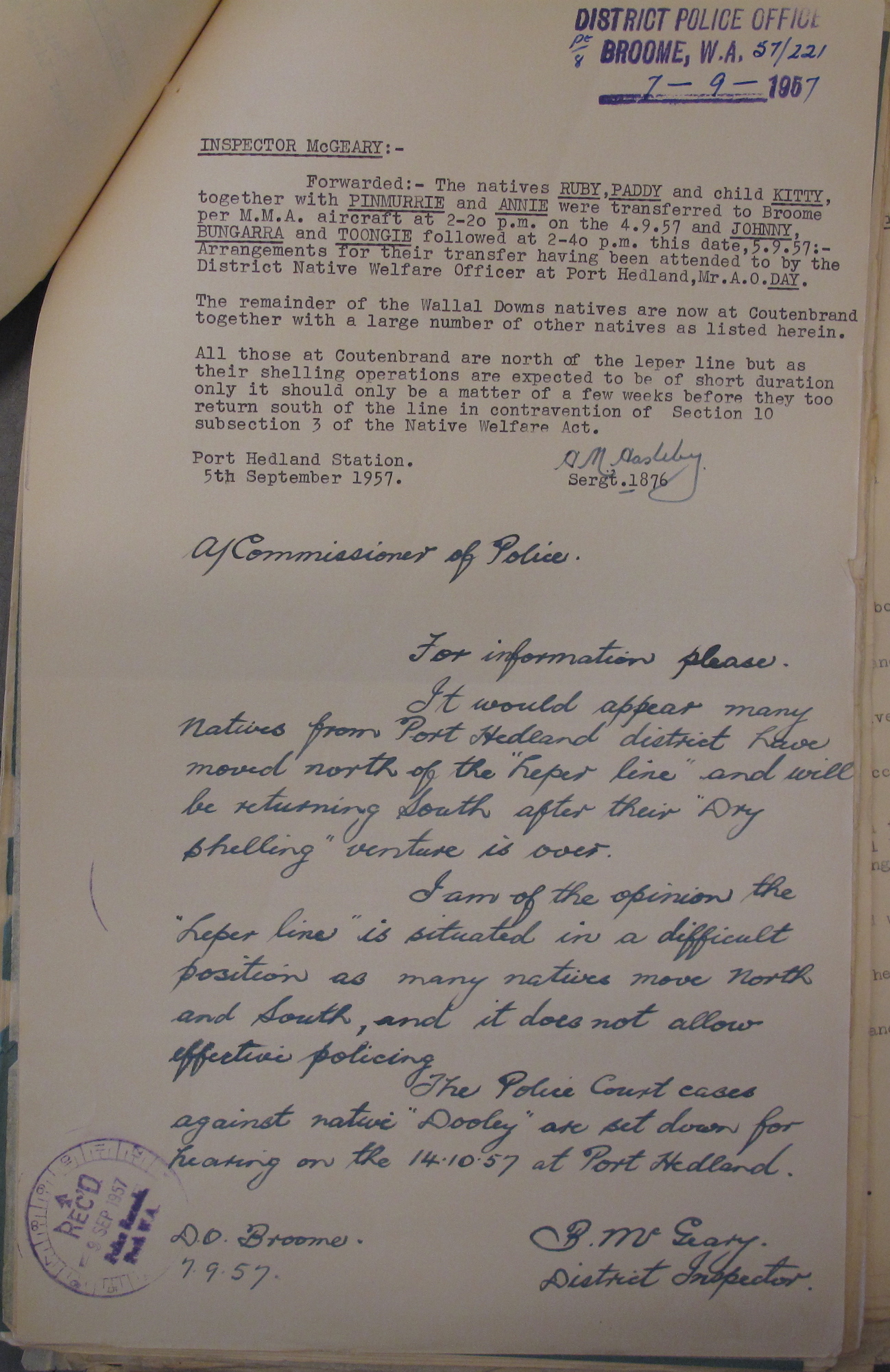 Sergeant H.M. Haselby to Inspector Bernie McGeary, 5 September 1957 and McGeary to A/Commissioner of Police, 7 September 1957