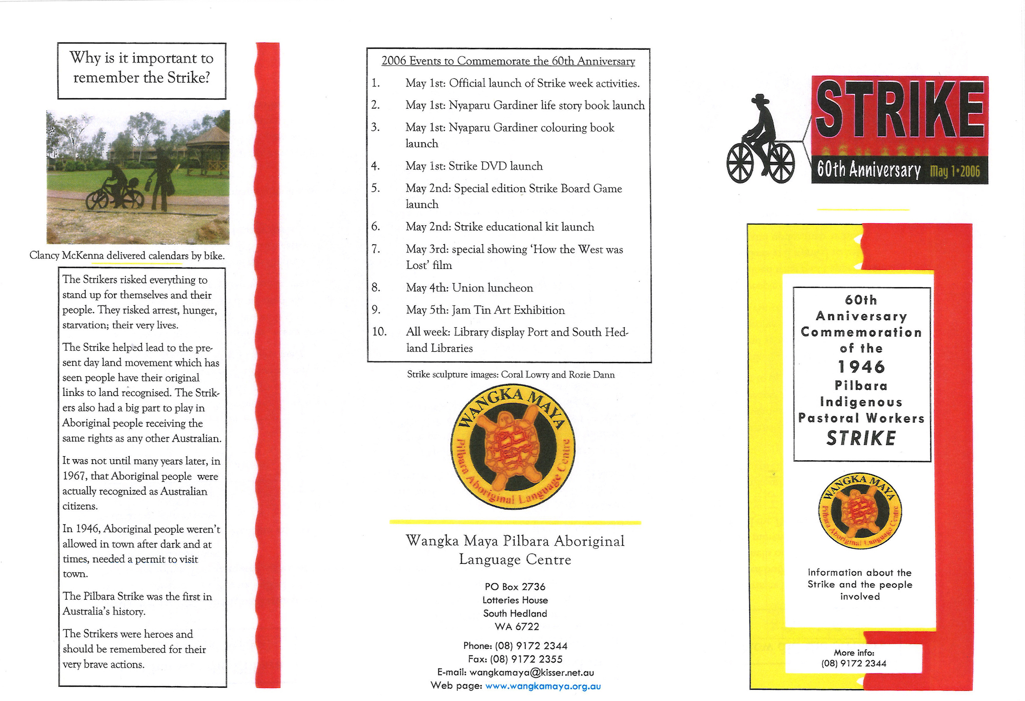 Wangka Maya Pilbara Aboriginal Language Centre, brochure for the 60th anniversary of the strike