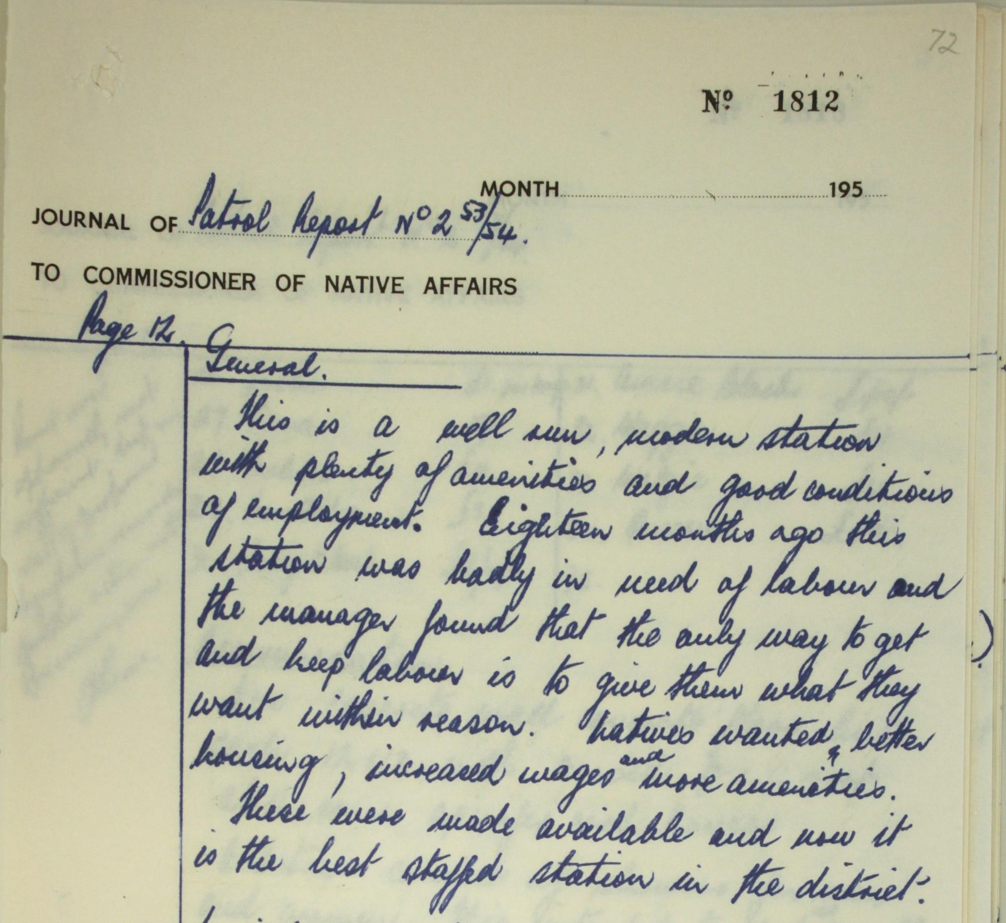 Tilbrook Native Affairs Patrol Report