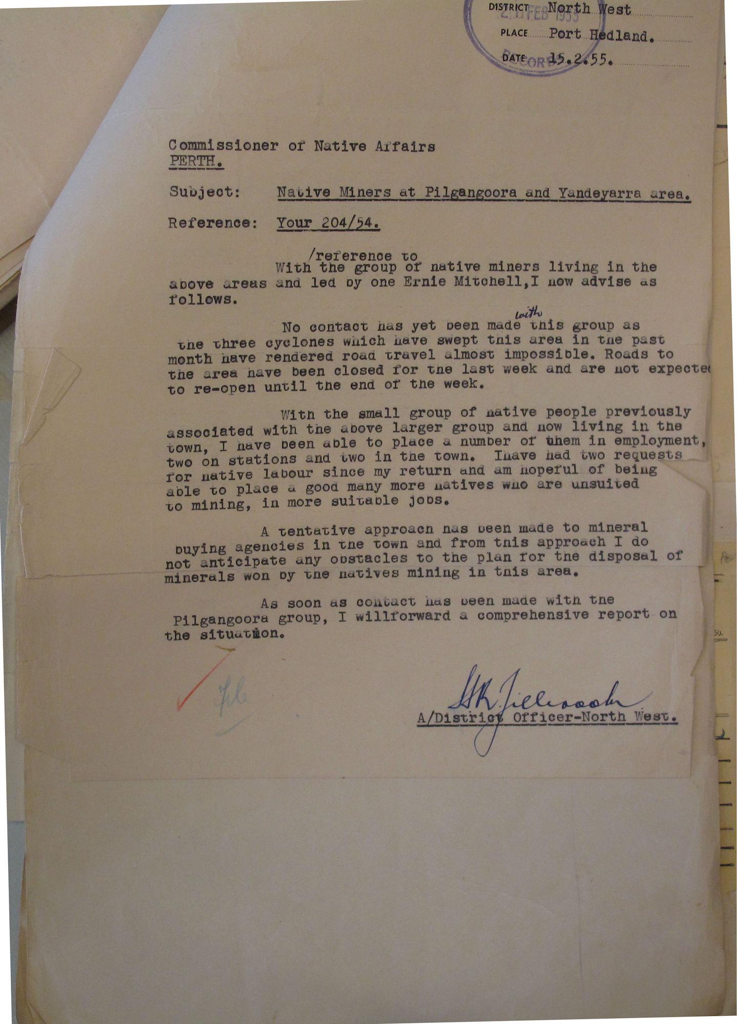 Tilbrook to Middleton, 15 February 1955