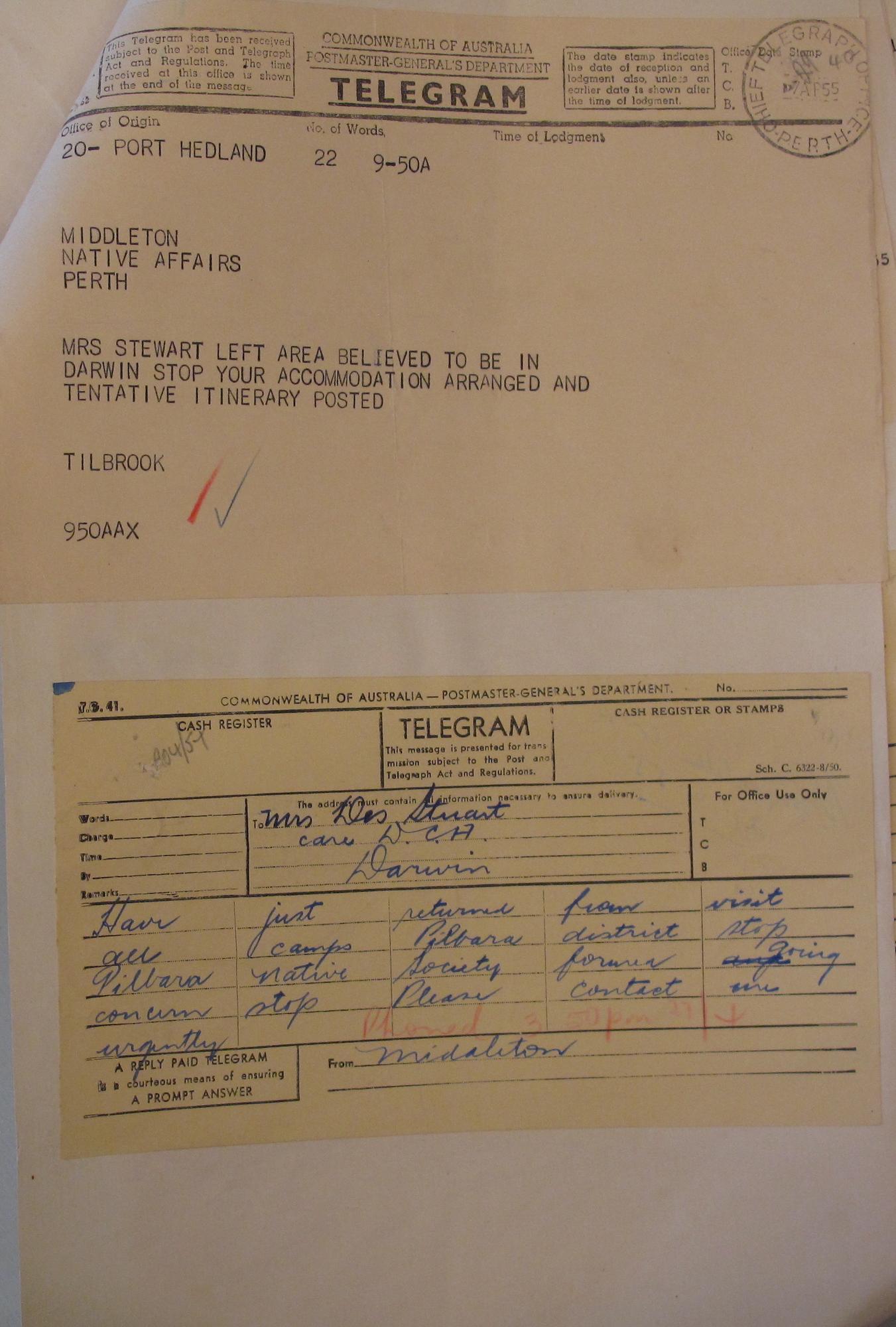 Tilbrook to Middleton, 7 April 1955