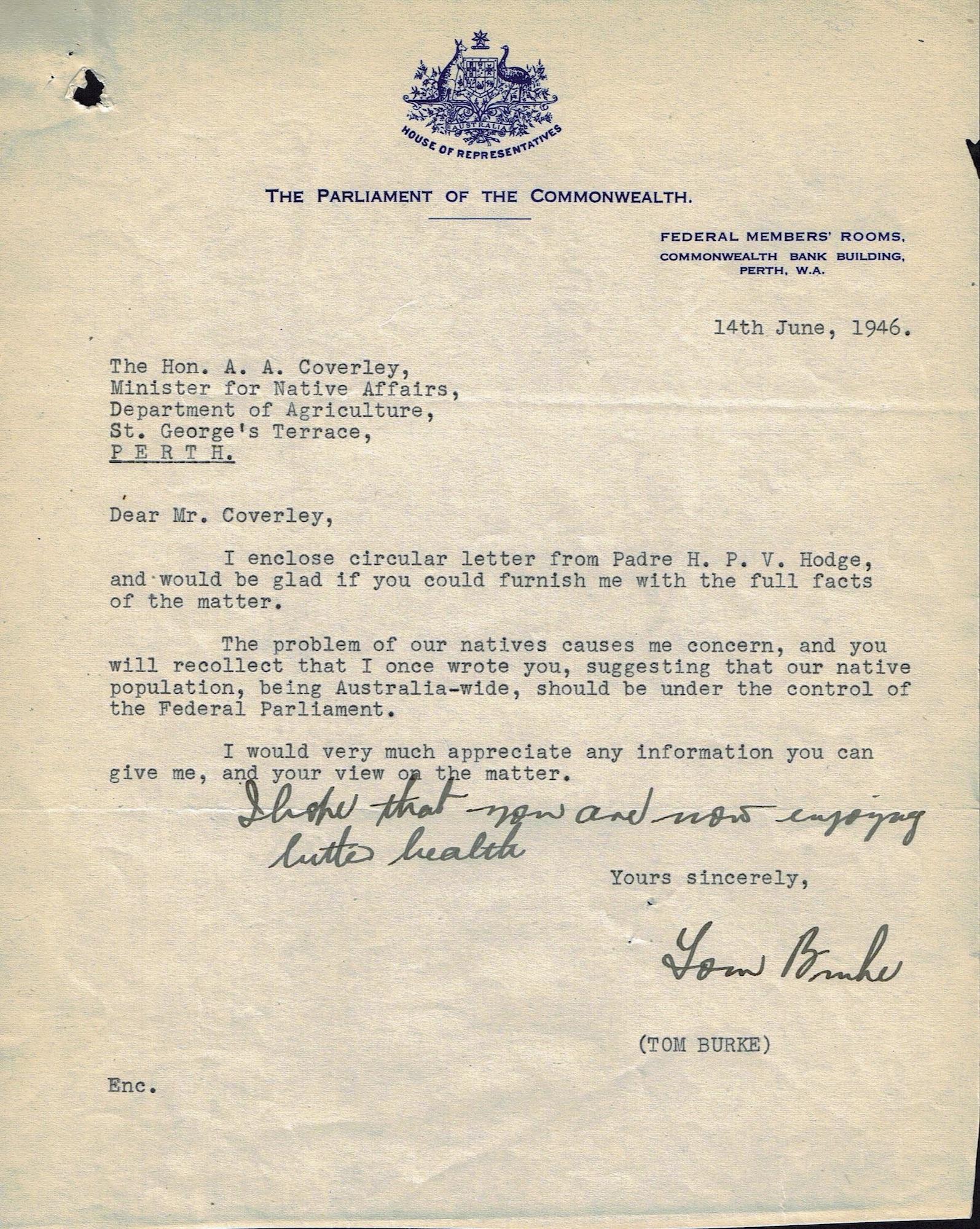 Federal Labor MP Burke to Bob Coverley, 14 June 1946