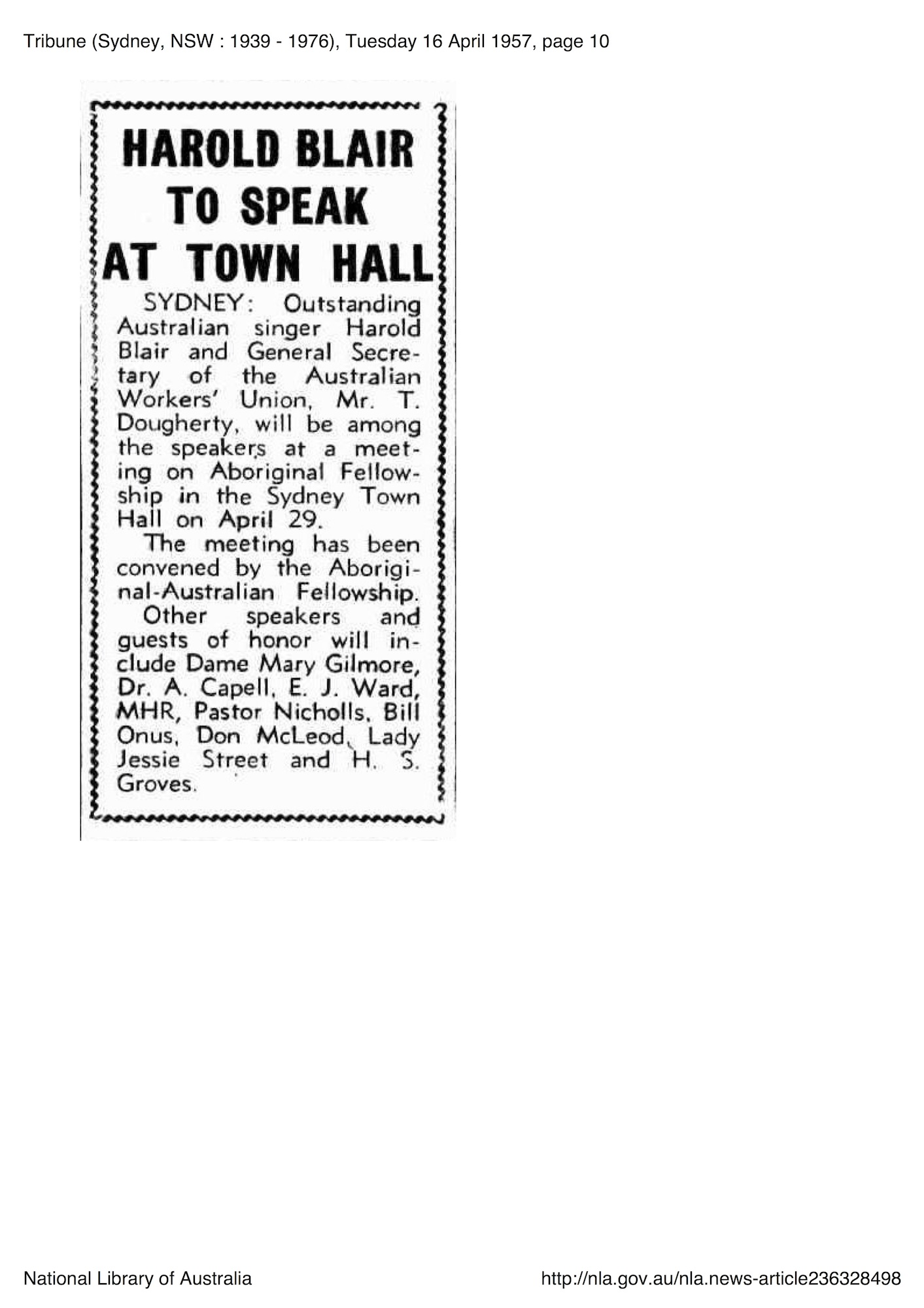 Tribune, 16 April 1957, p. 10, 'Harold Blair to Speak at Town Hall'