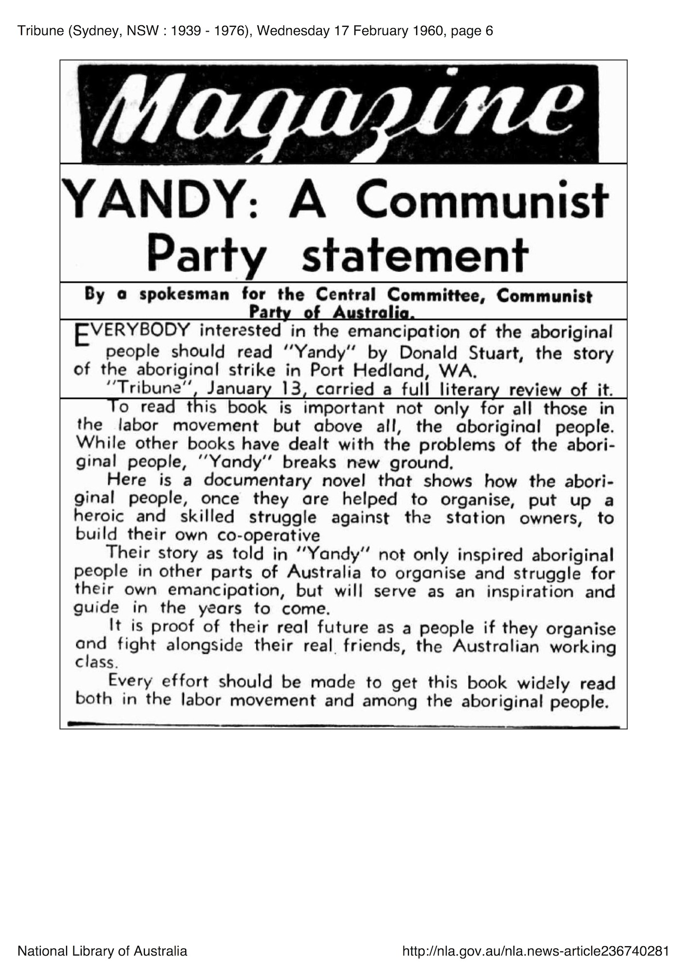 Tribune, 17 February 1960, p. 6, 'Yandy: A Communist Party Statement'