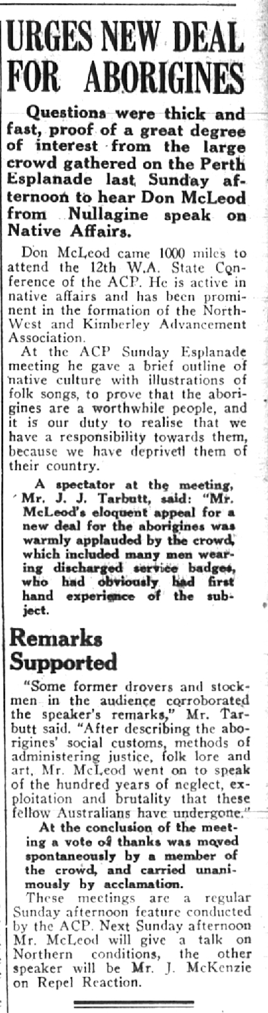 "Newspaper article, ""Urges New Deal for Aborigines"""