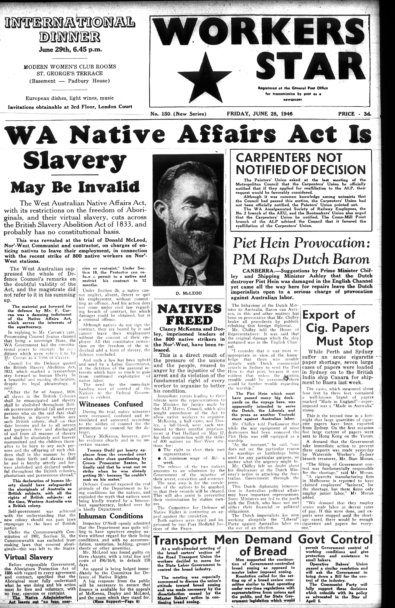 WA Native Affairs Act is Slavery newspaper article